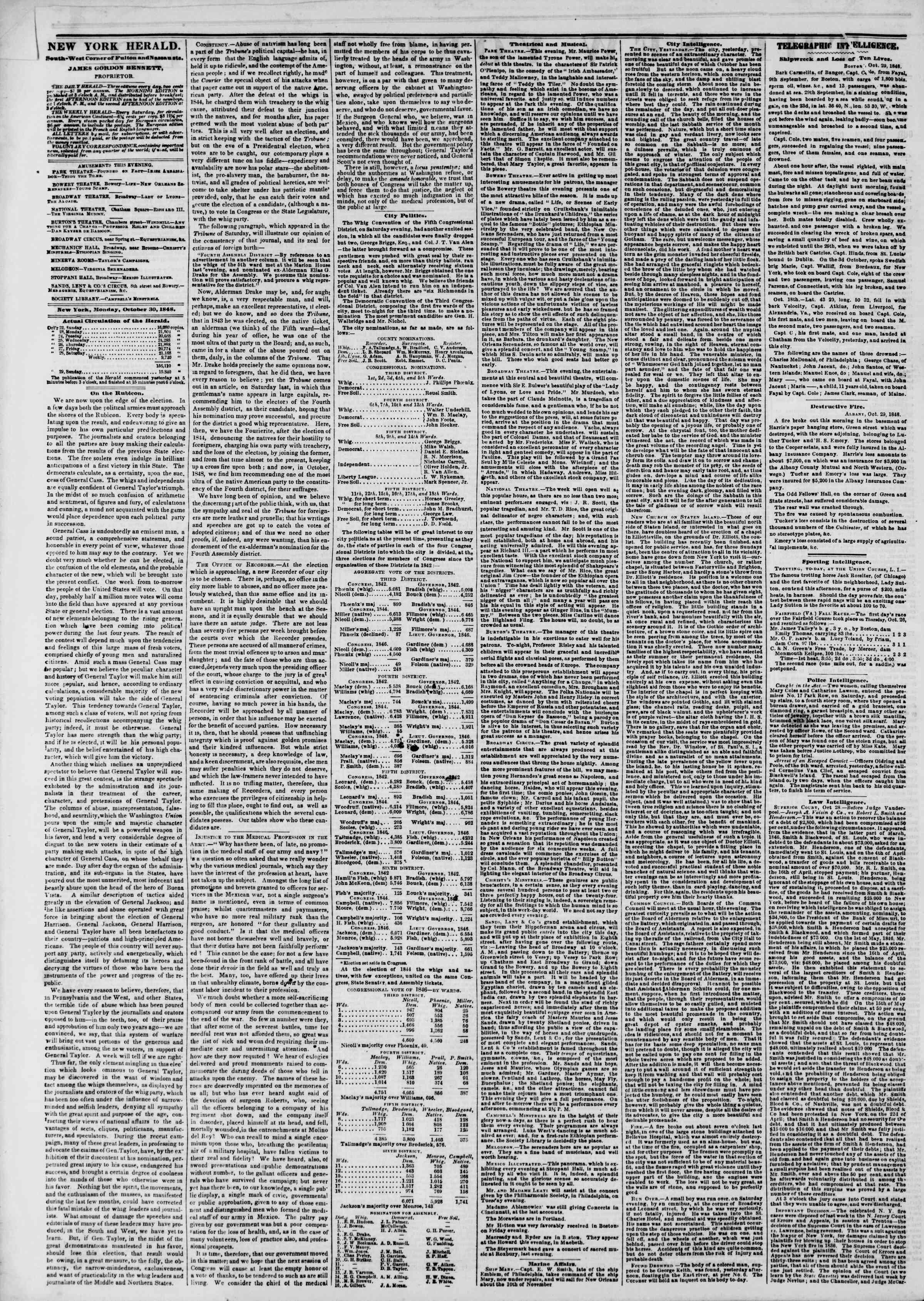 Newspaper of The New York Herald dated October 30, 1848 Page 2