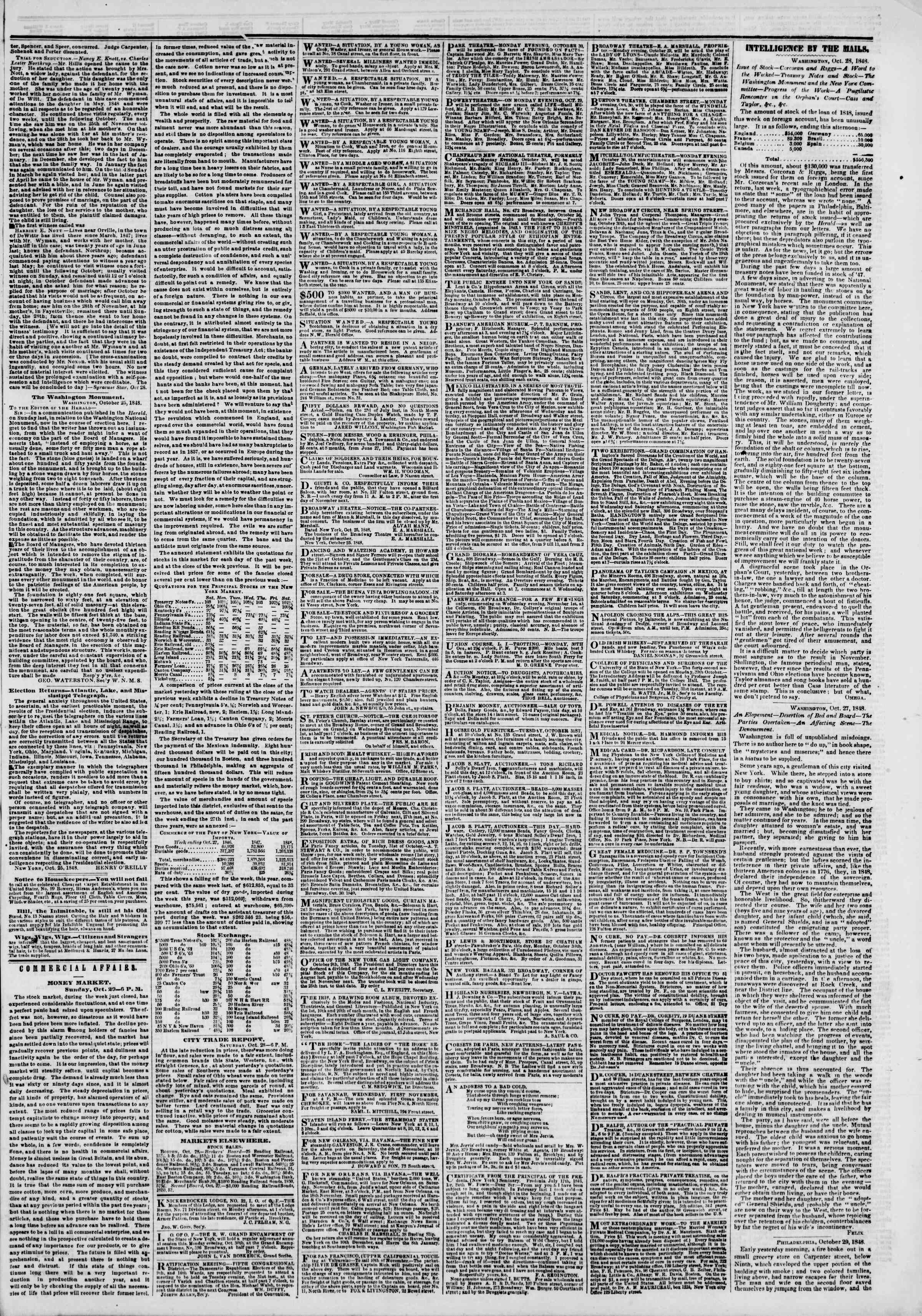 Newspaper of The New York Herald dated October 30, 1848 Page 3