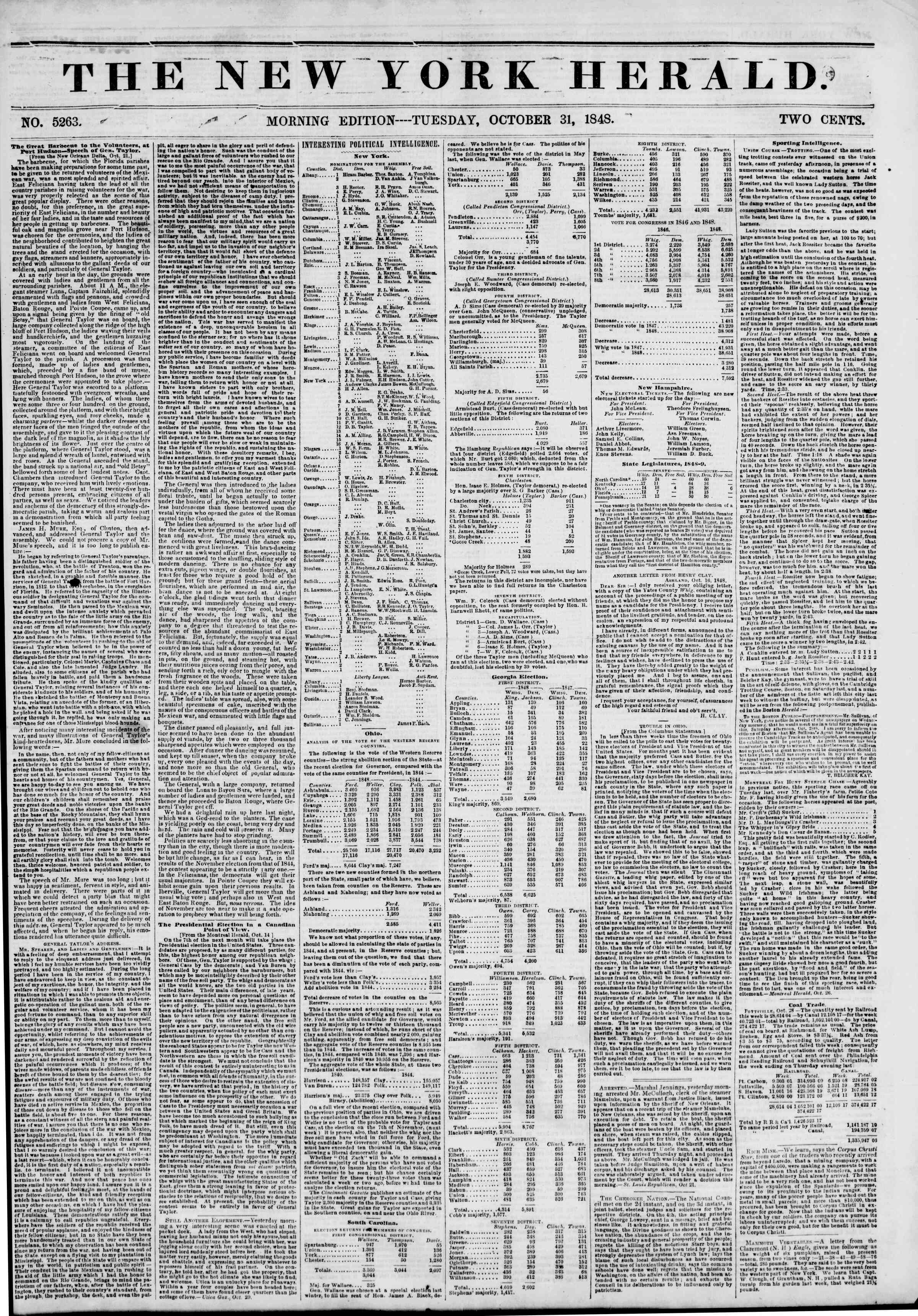 Newspaper of The New York Herald dated October 31, 1848 Page 1