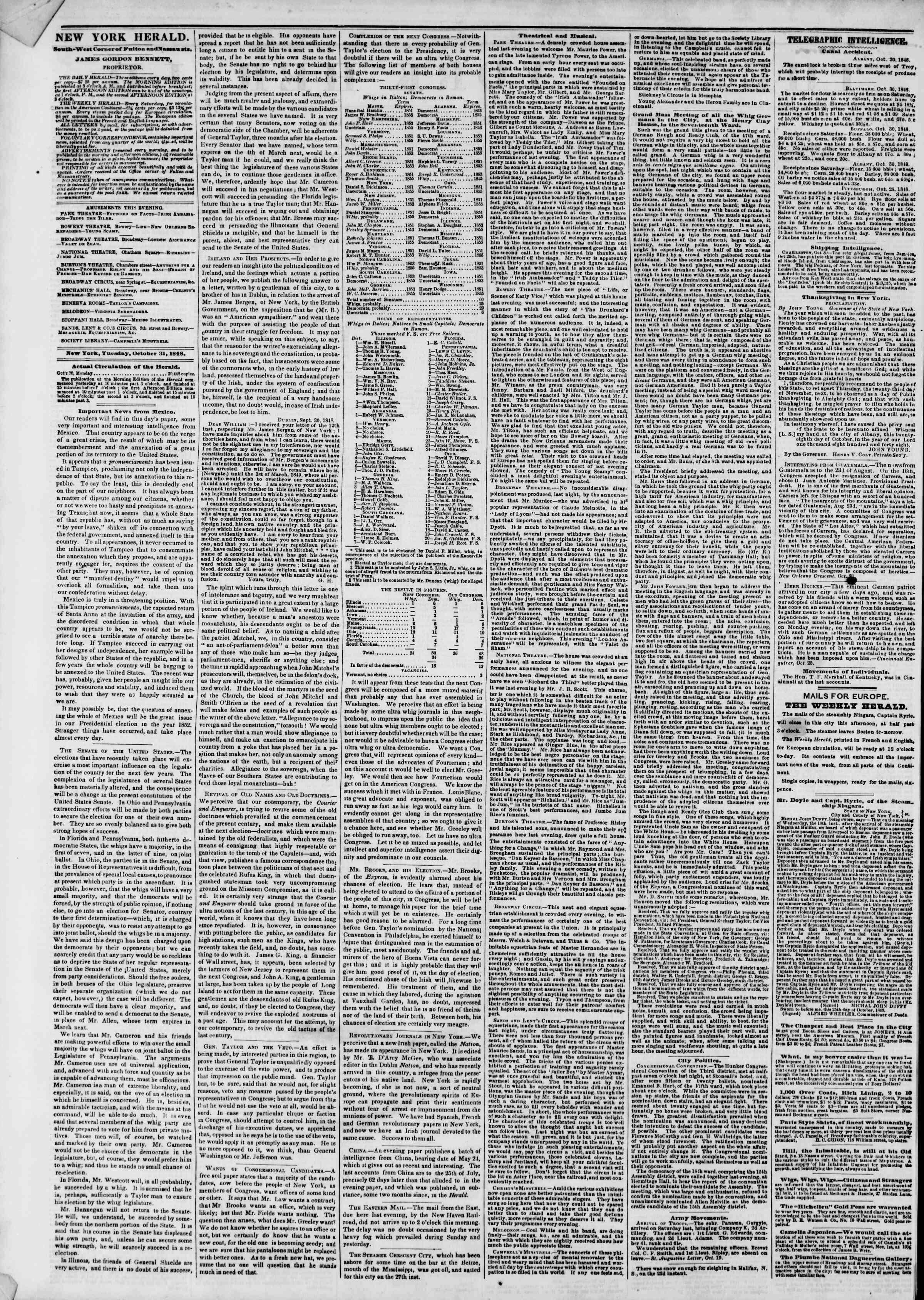 Newspaper of The New York Herald dated October 31, 1848 Page 2