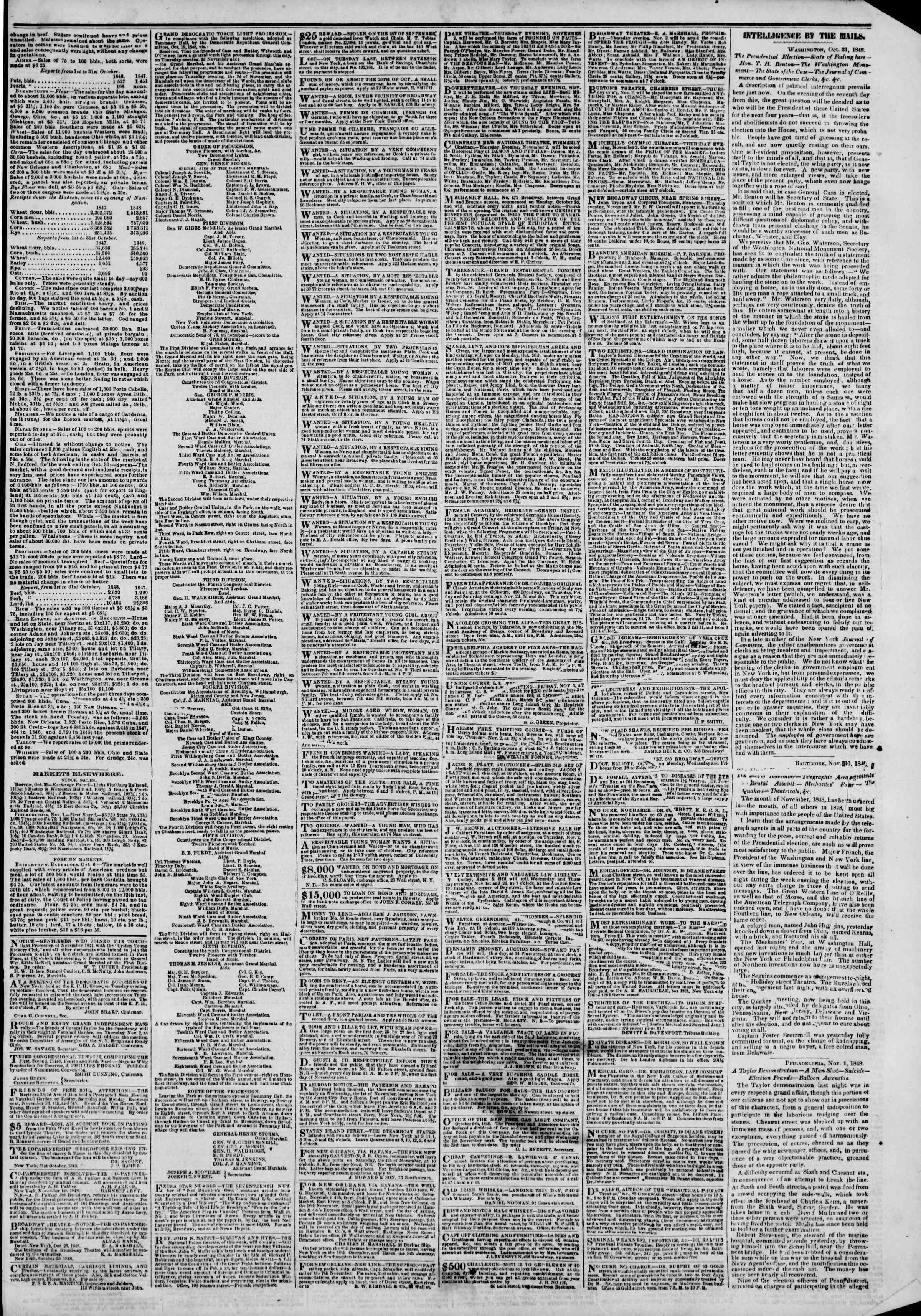 Newspaper of The New York Herald dated November 2, 1848 Page 3