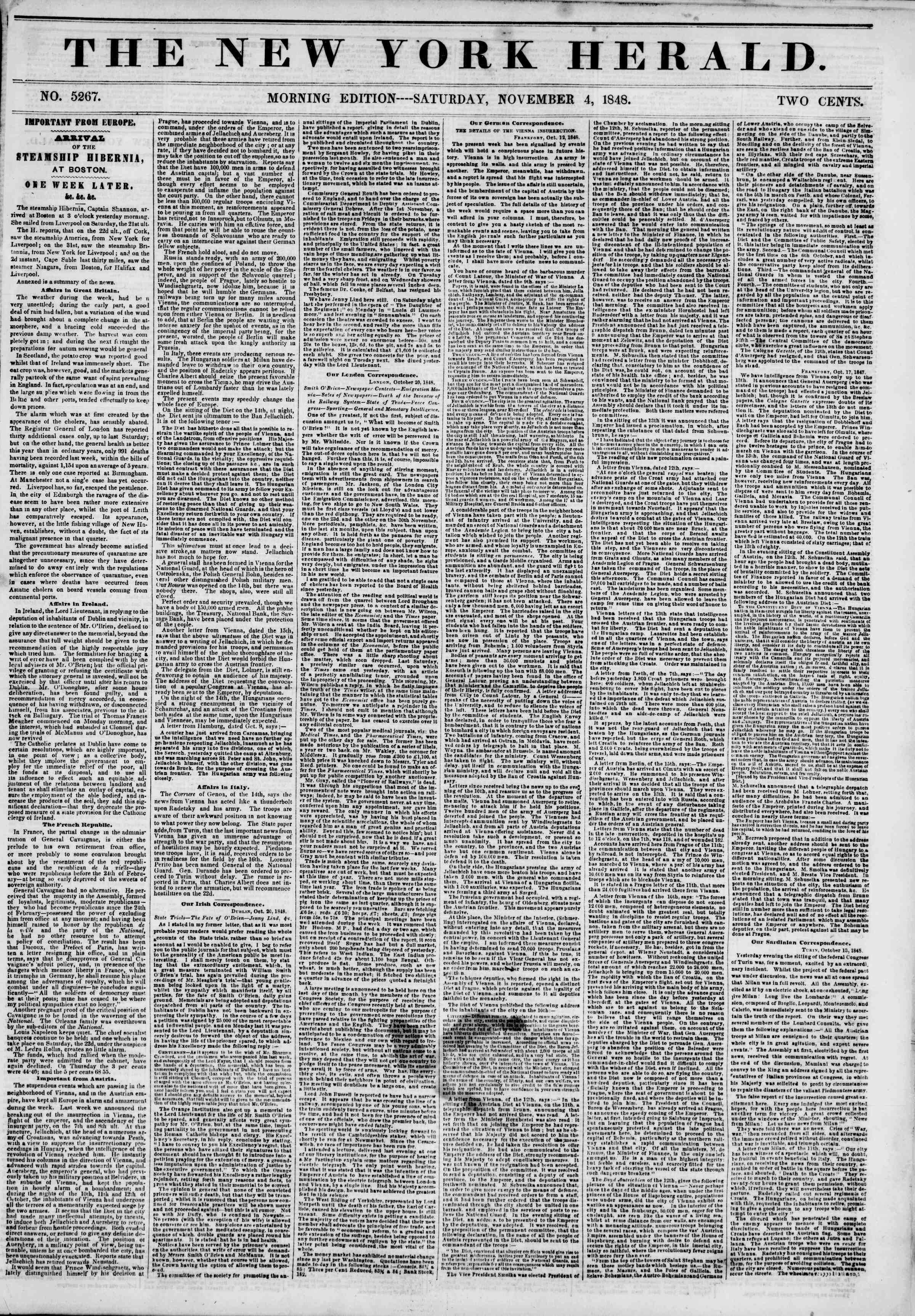 Newspaper of The New York Herald dated November 4, 1848 Page 1