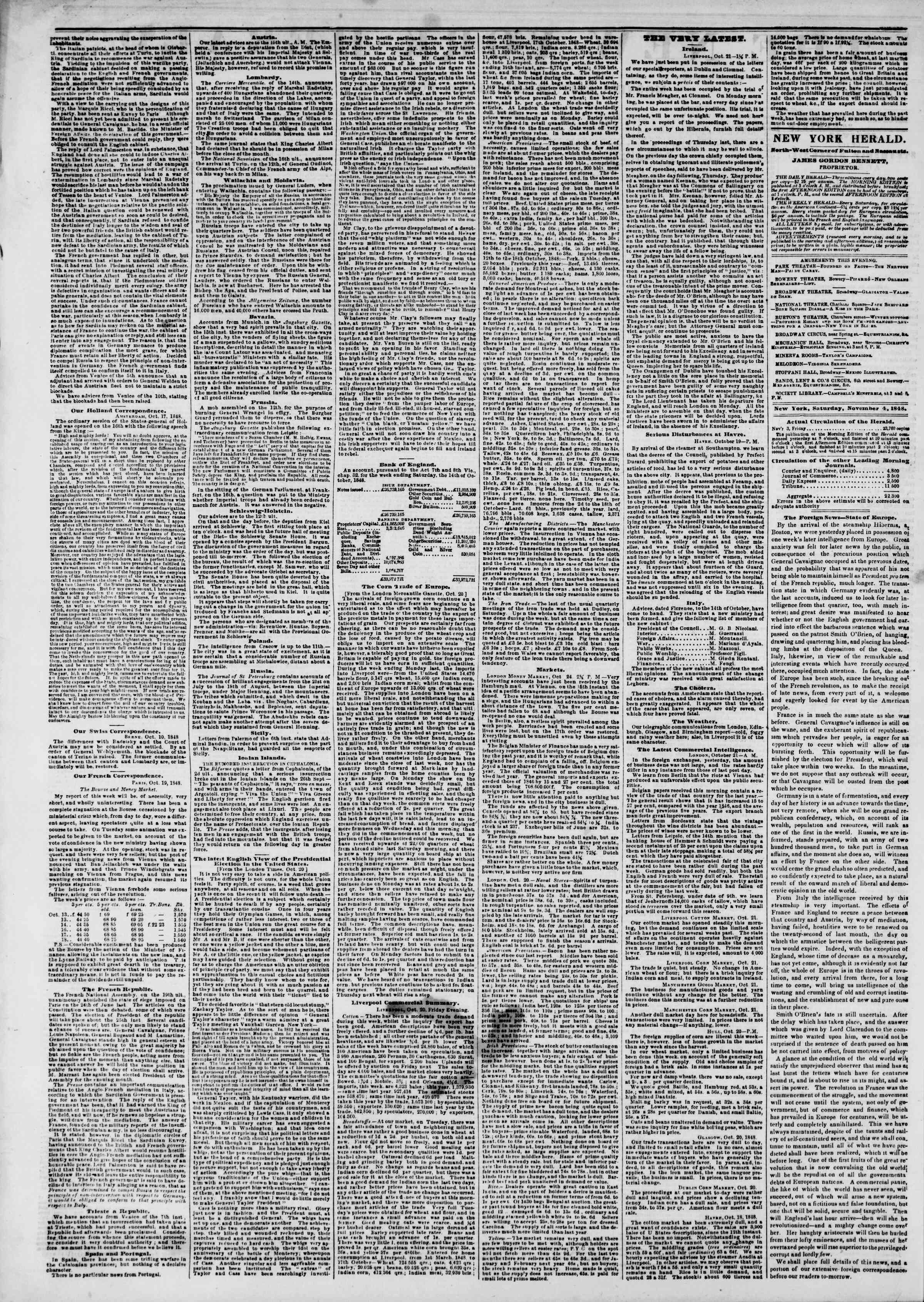 Newspaper of The New York Herald dated November 4, 1848 Page 2
