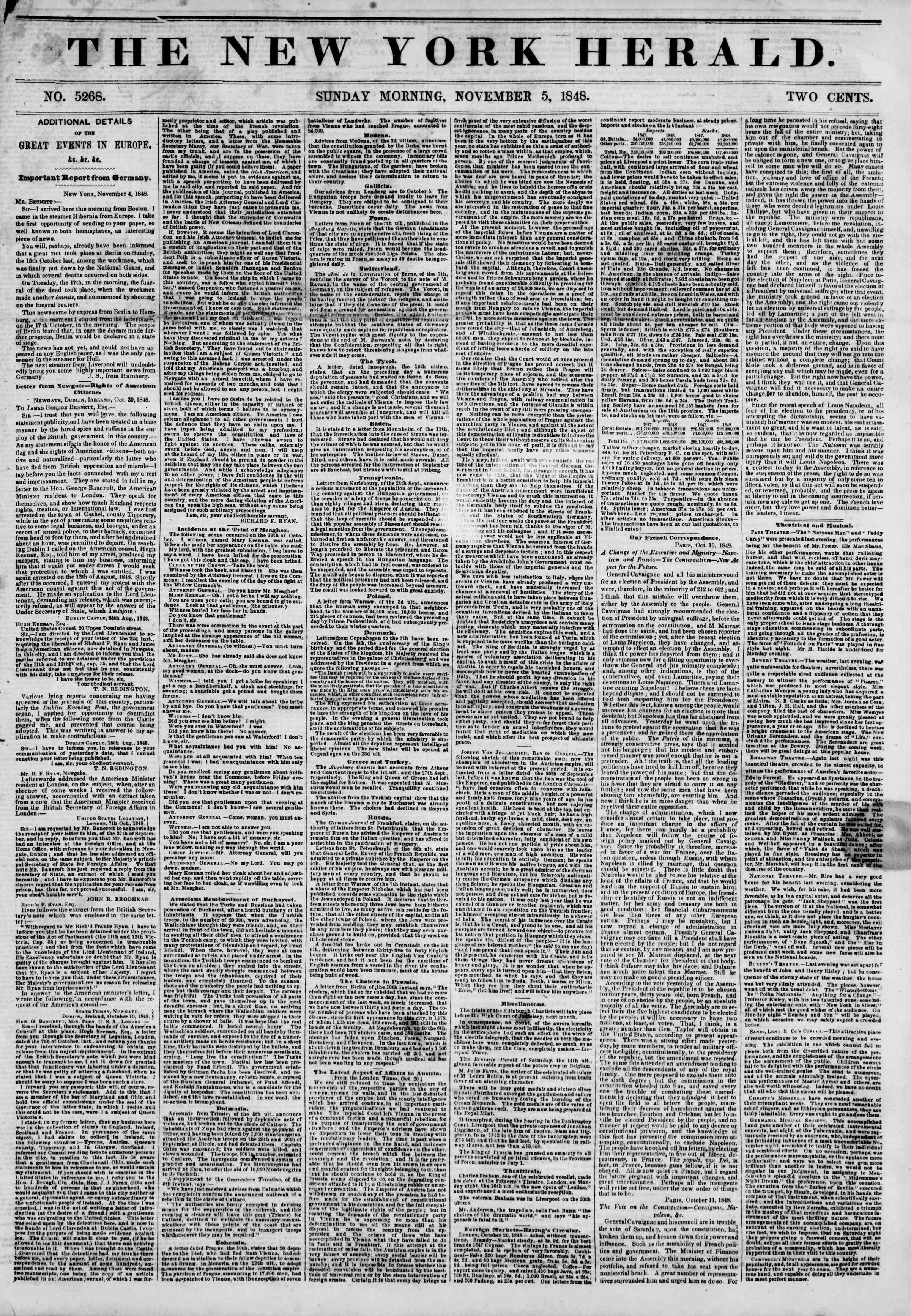 Newspaper of The New York Herald dated November 5, 1848 Page 1