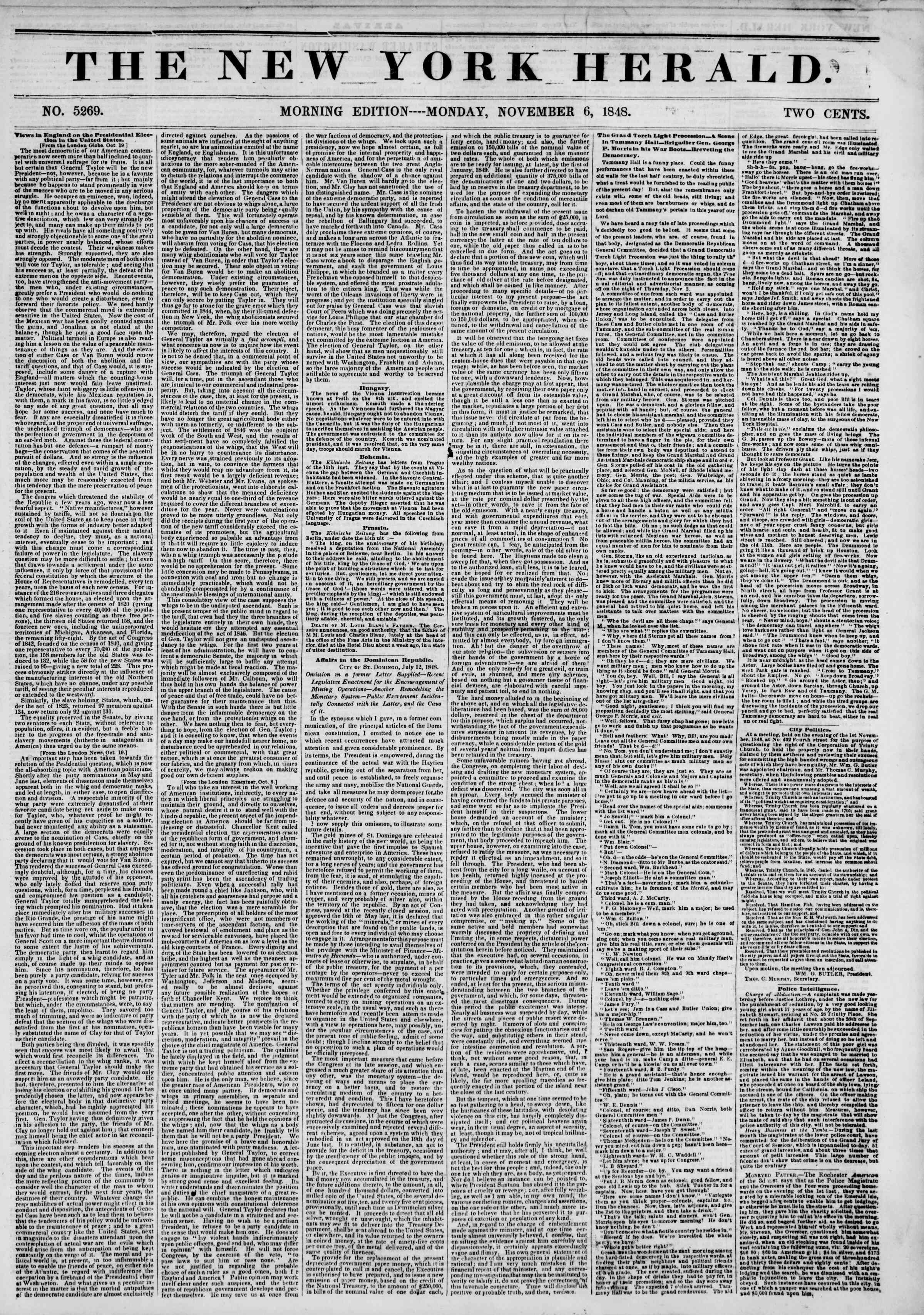 Newspaper of The New York Herald dated November 6, 1848 Page 1