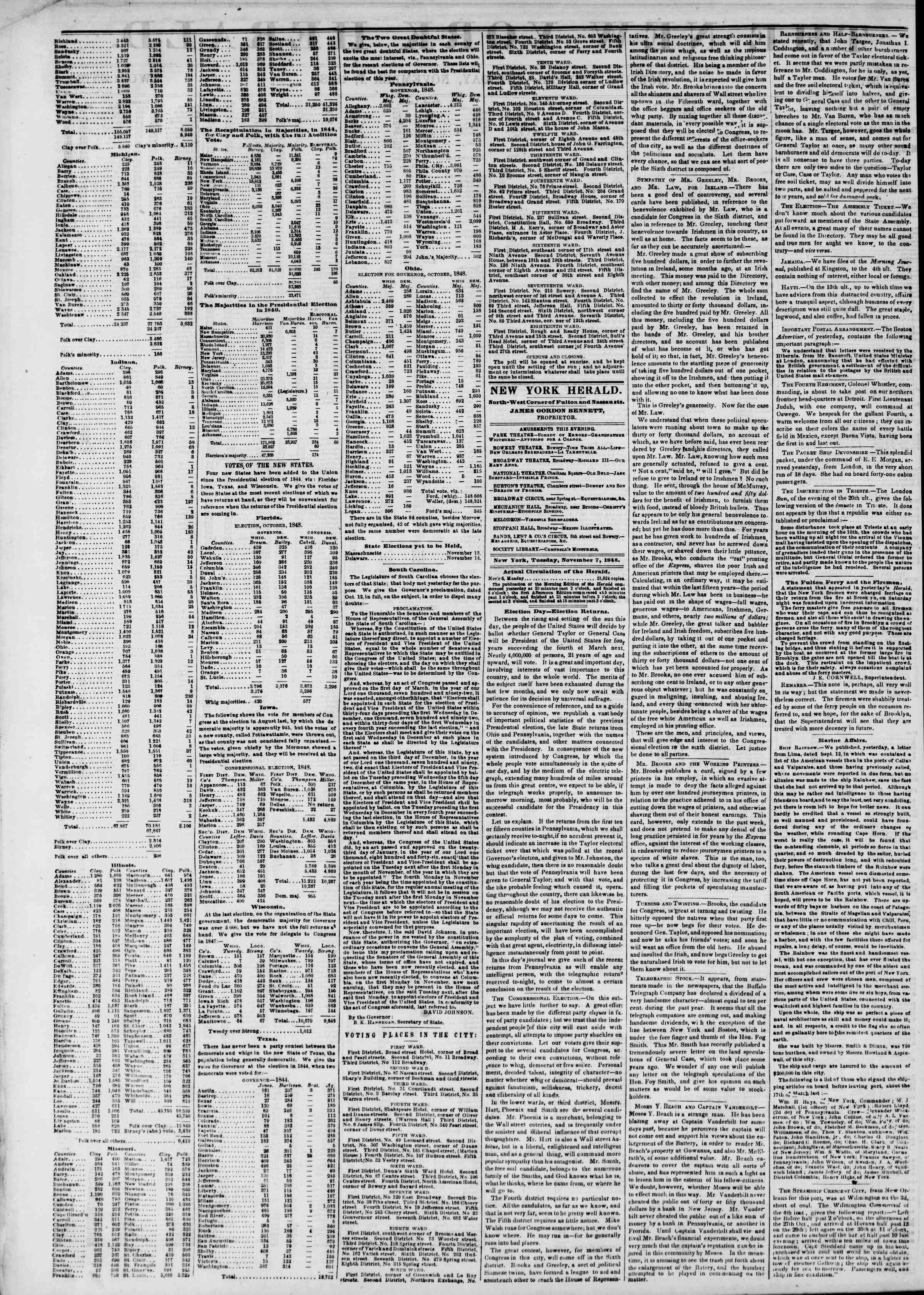Newspaper of The New York Herald dated November 7, 1848 Page 2
