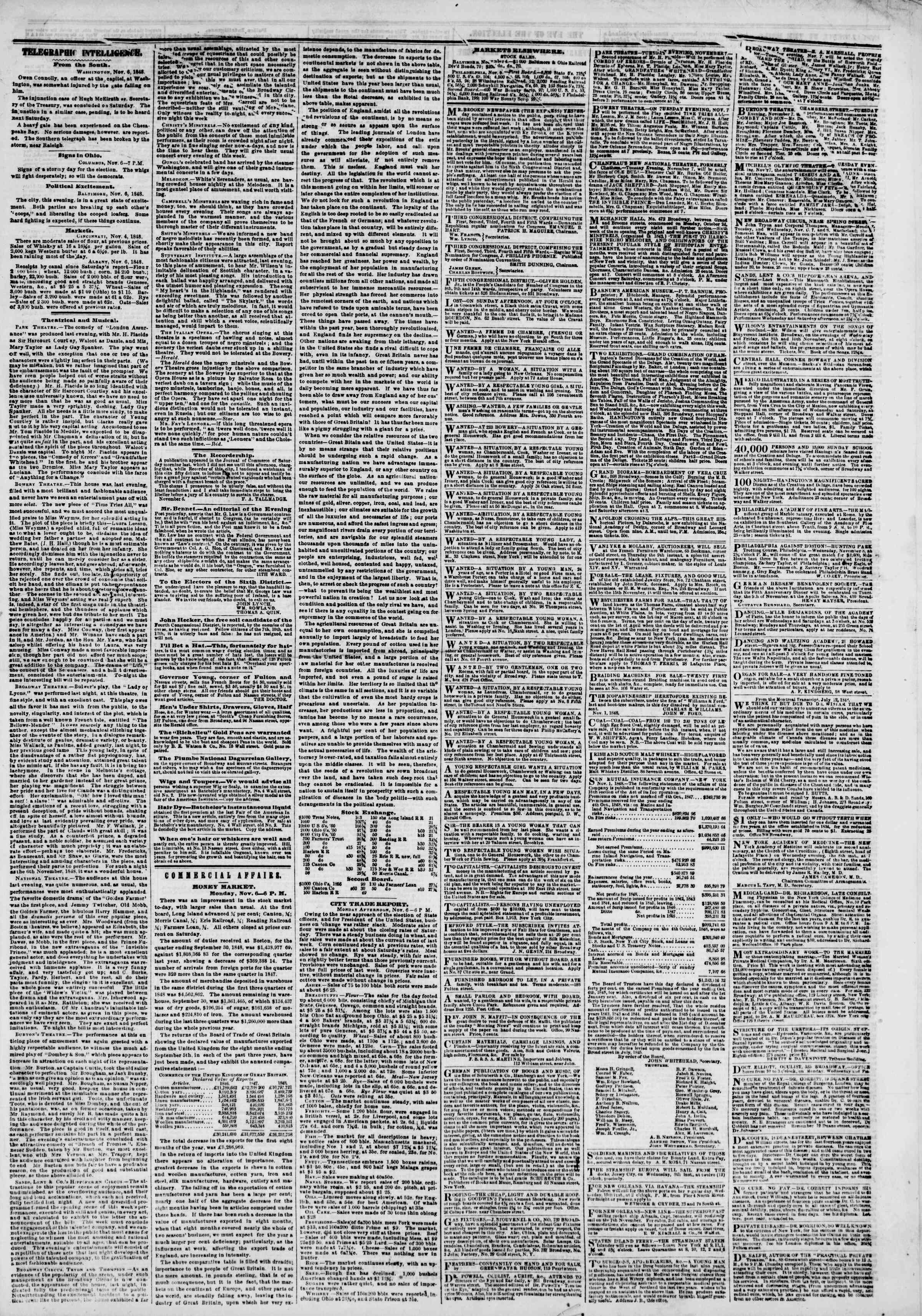Newspaper of The New York Herald dated November 7, 1848 Page 3