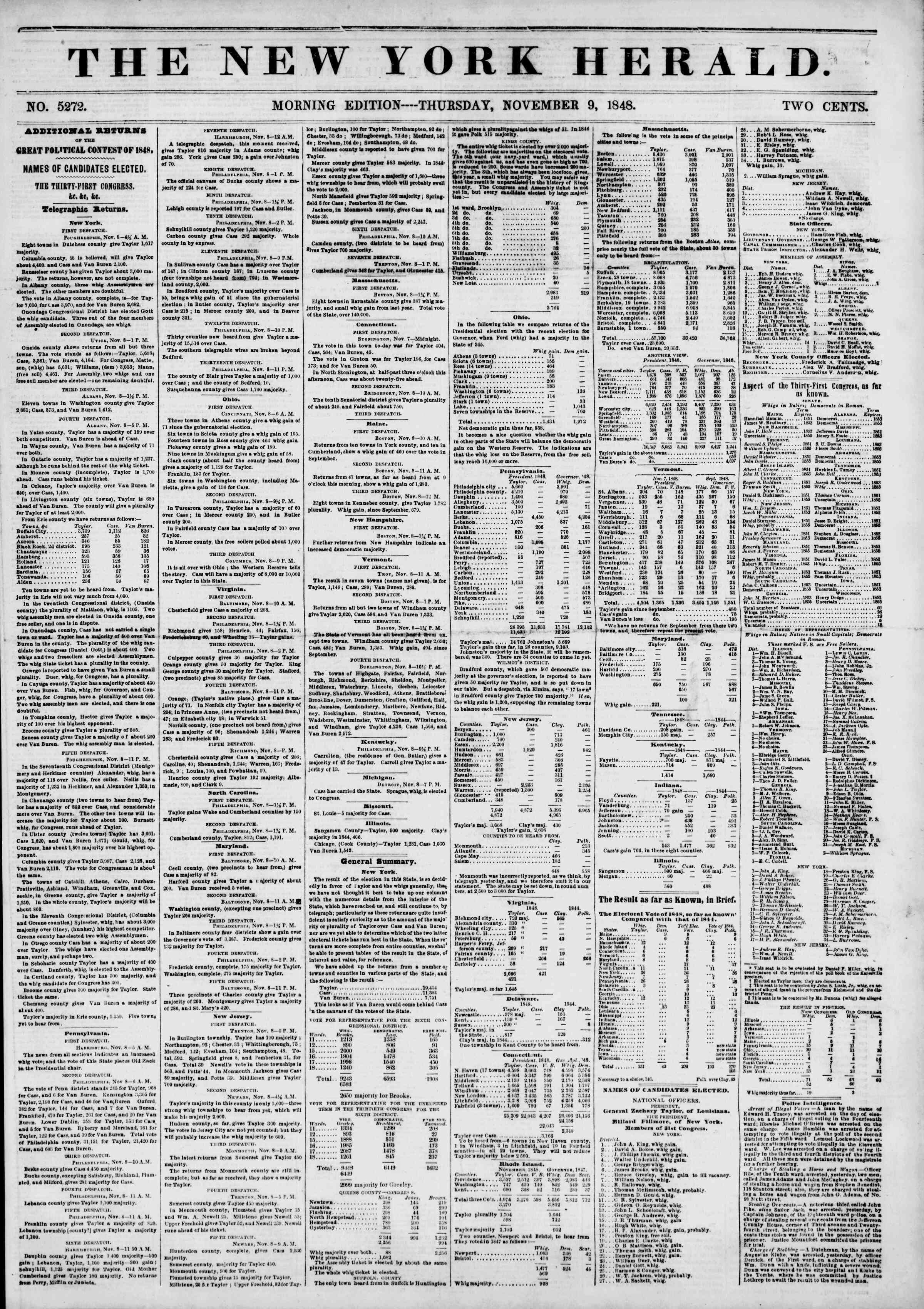 Newspaper of The New York Herald dated November 9, 1848 Page 1