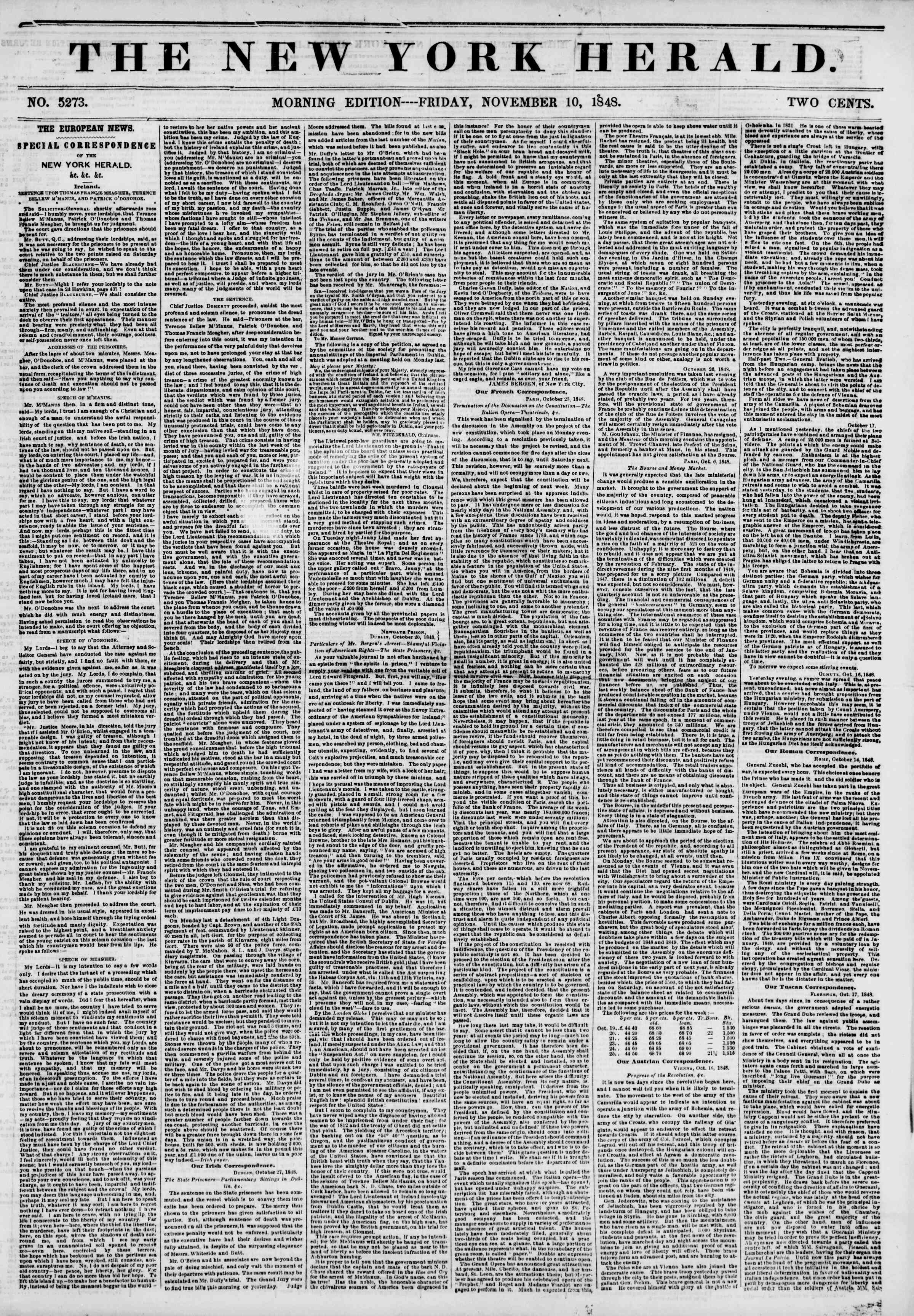 Newspaper of The New York Herald dated November 10, 1848 Page 1