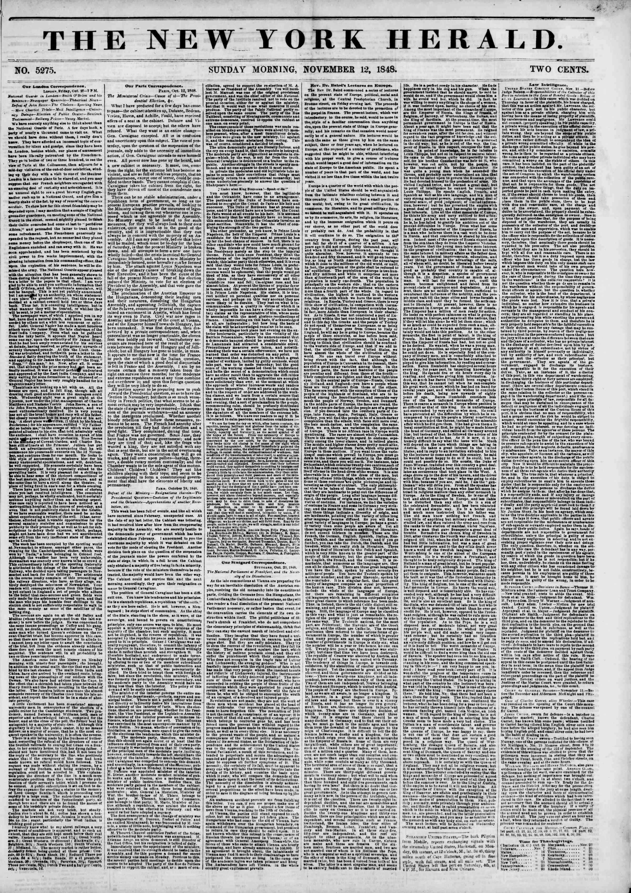 Newspaper of The New York Herald dated November 12, 1848 Page 1