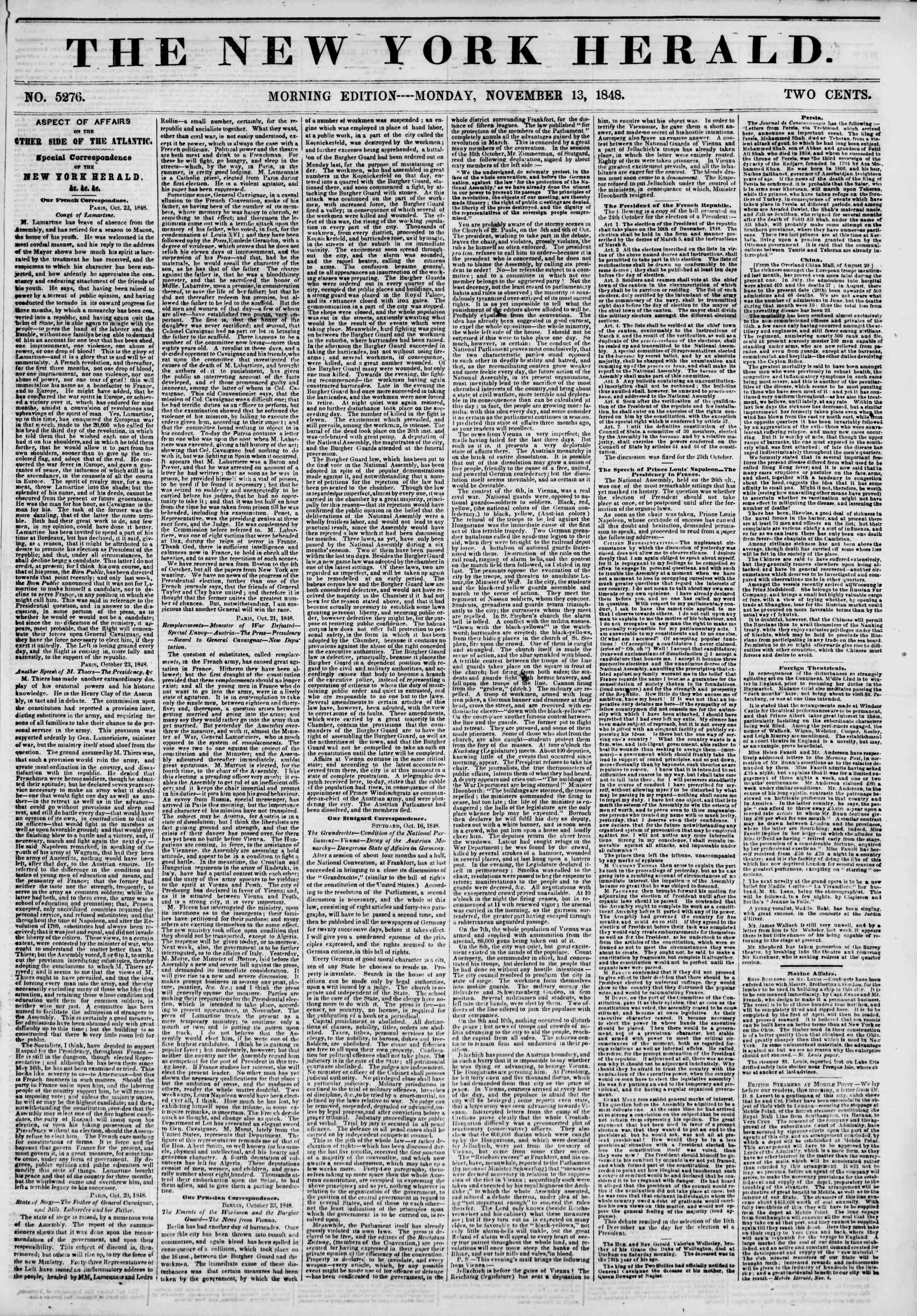 Newspaper of The New York Herald dated November 13, 1848 Page 1