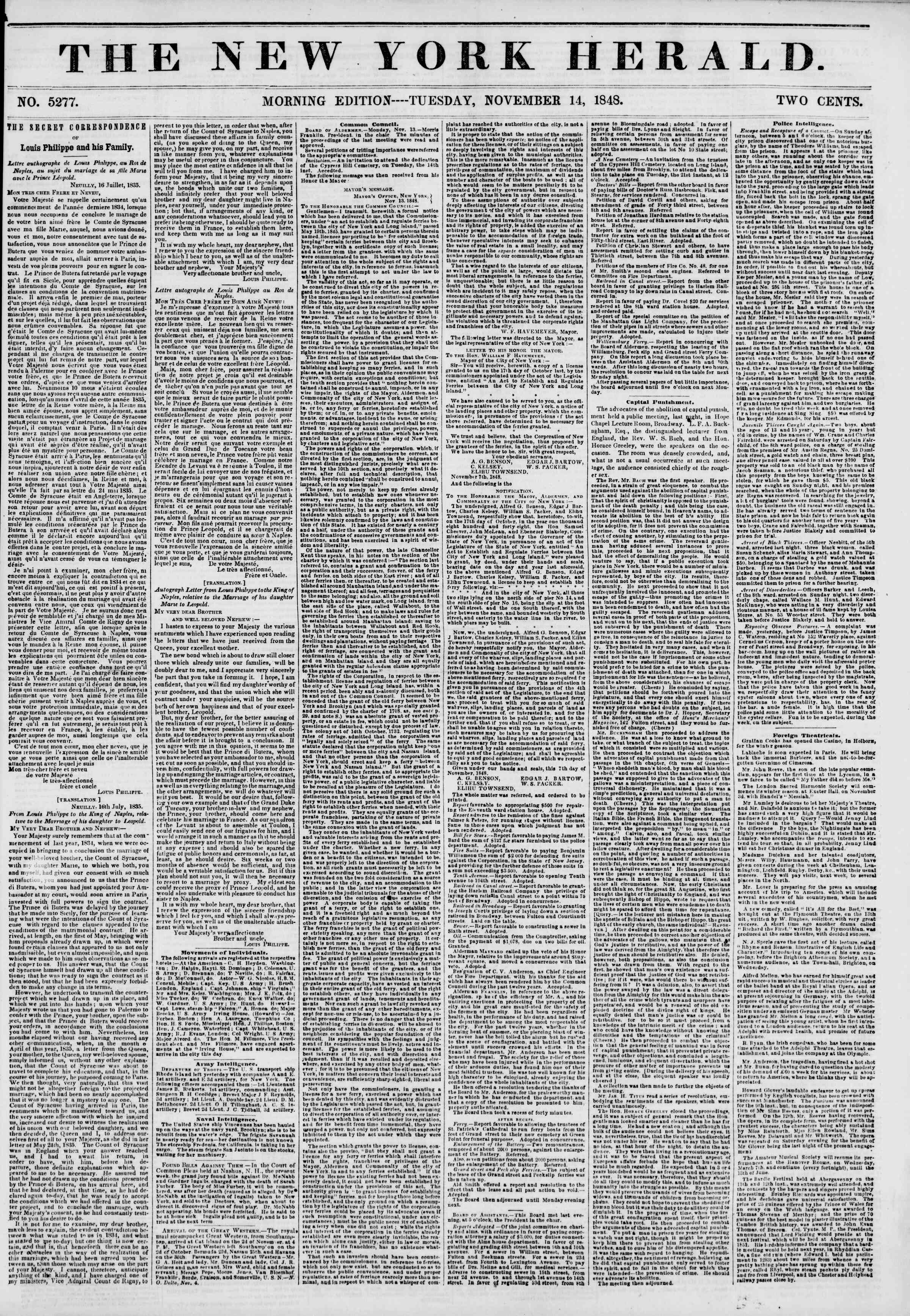Newspaper of The New York Herald dated November 14, 1848 Page 1
