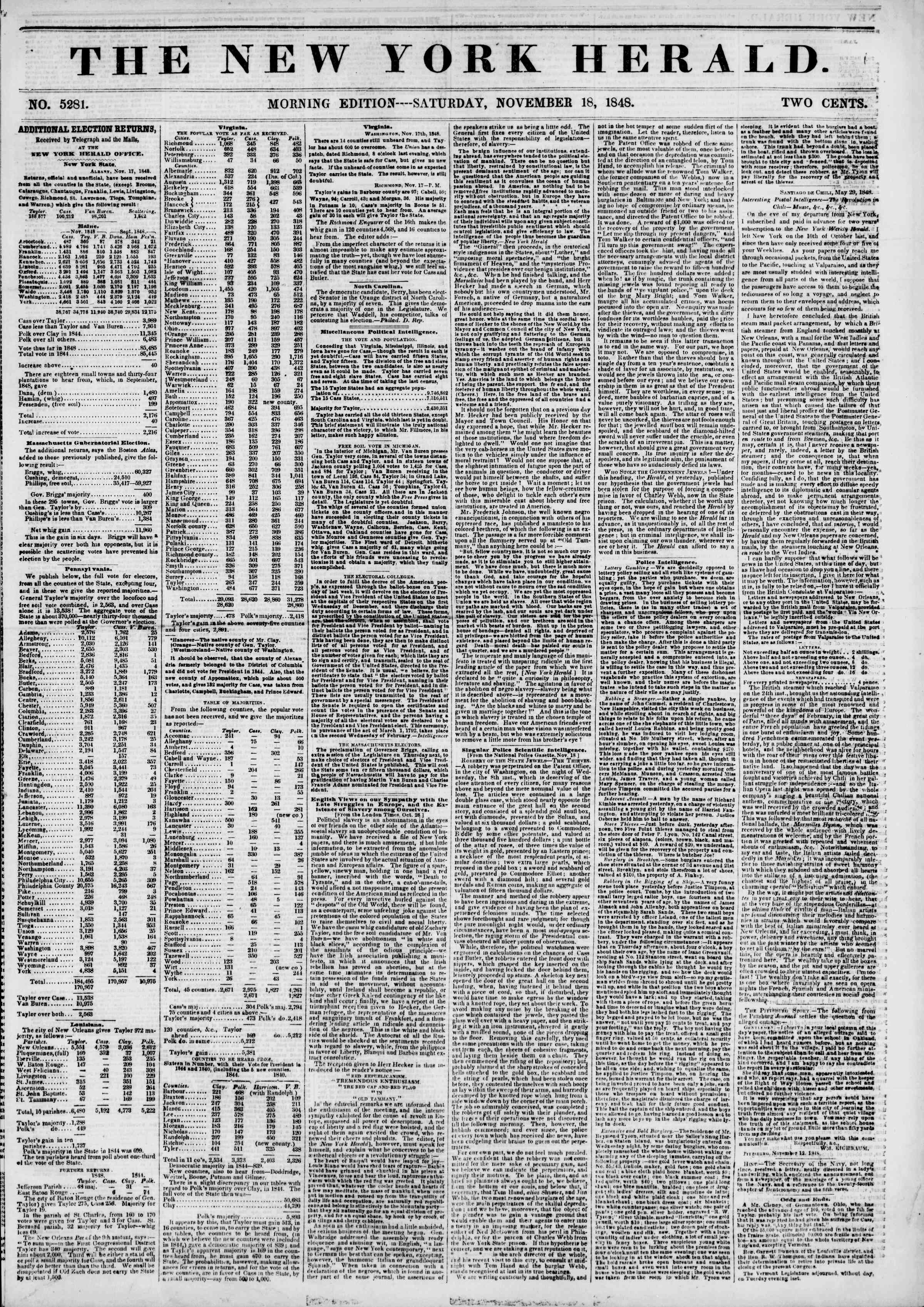 Newspaper of The New York Herald dated November 18, 1848 Page 1