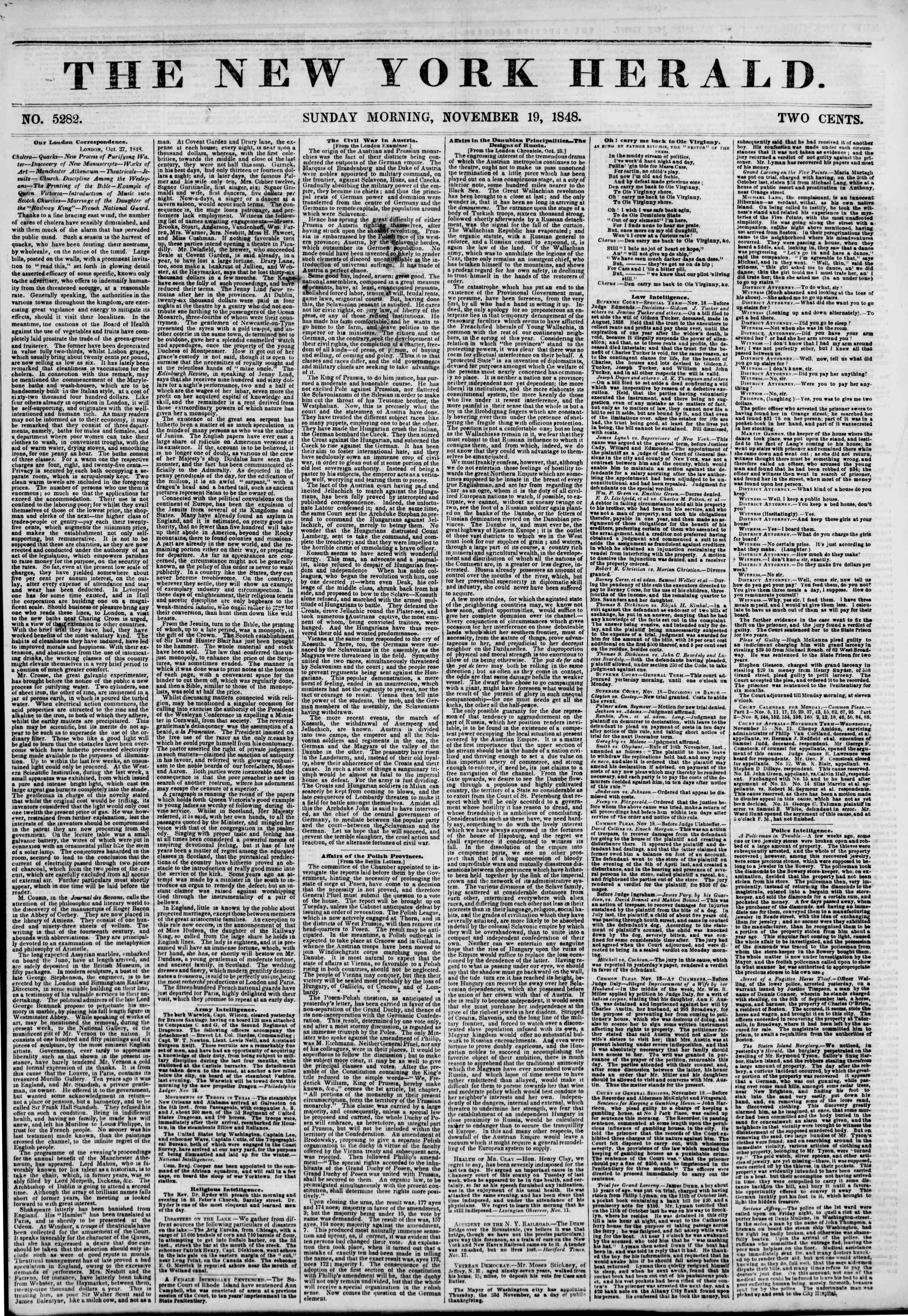 Newspaper of The New York Herald dated November 19, 1848 Page 1