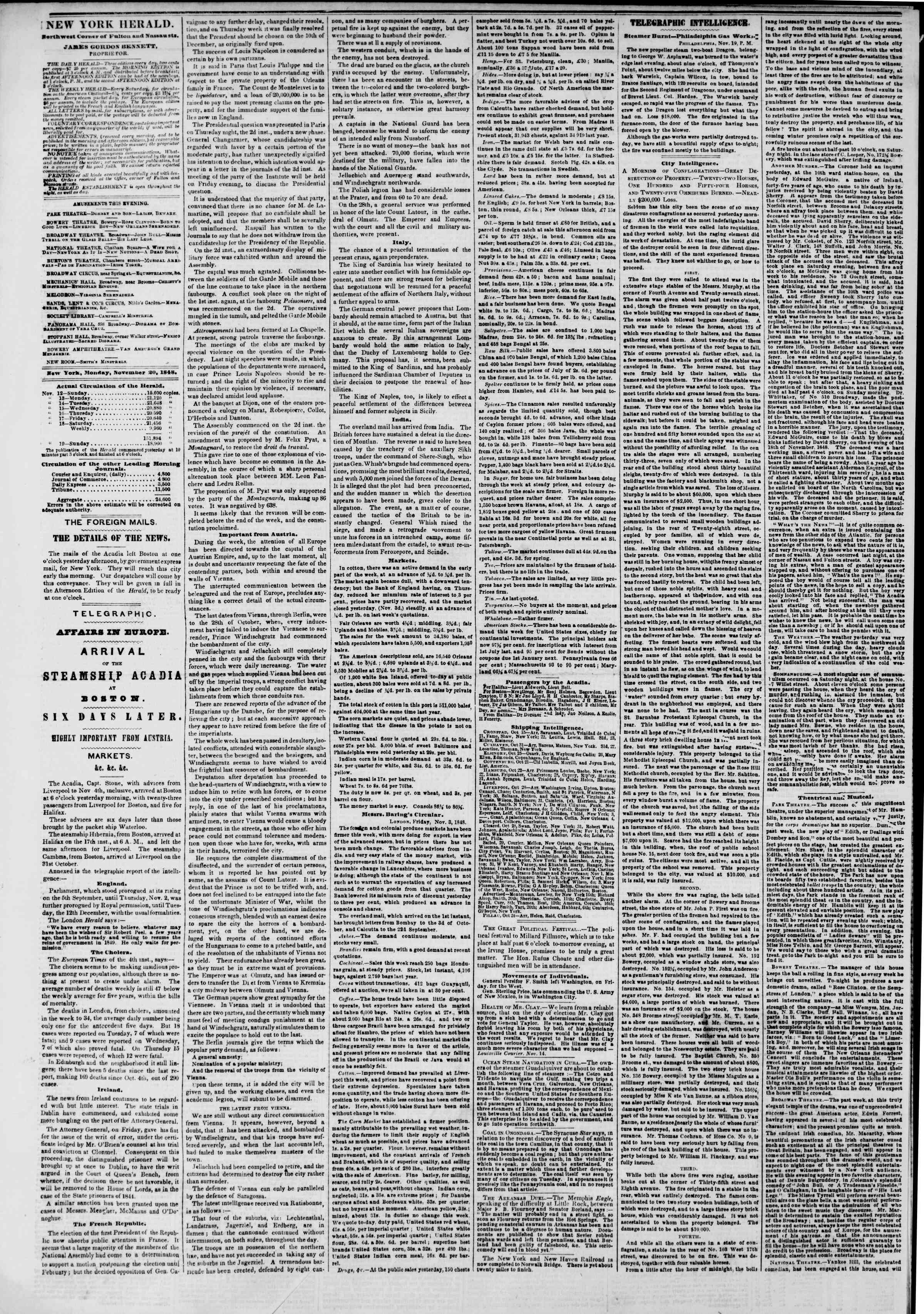 Newspaper of The New York Herald dated November 20, 1848 Page 2