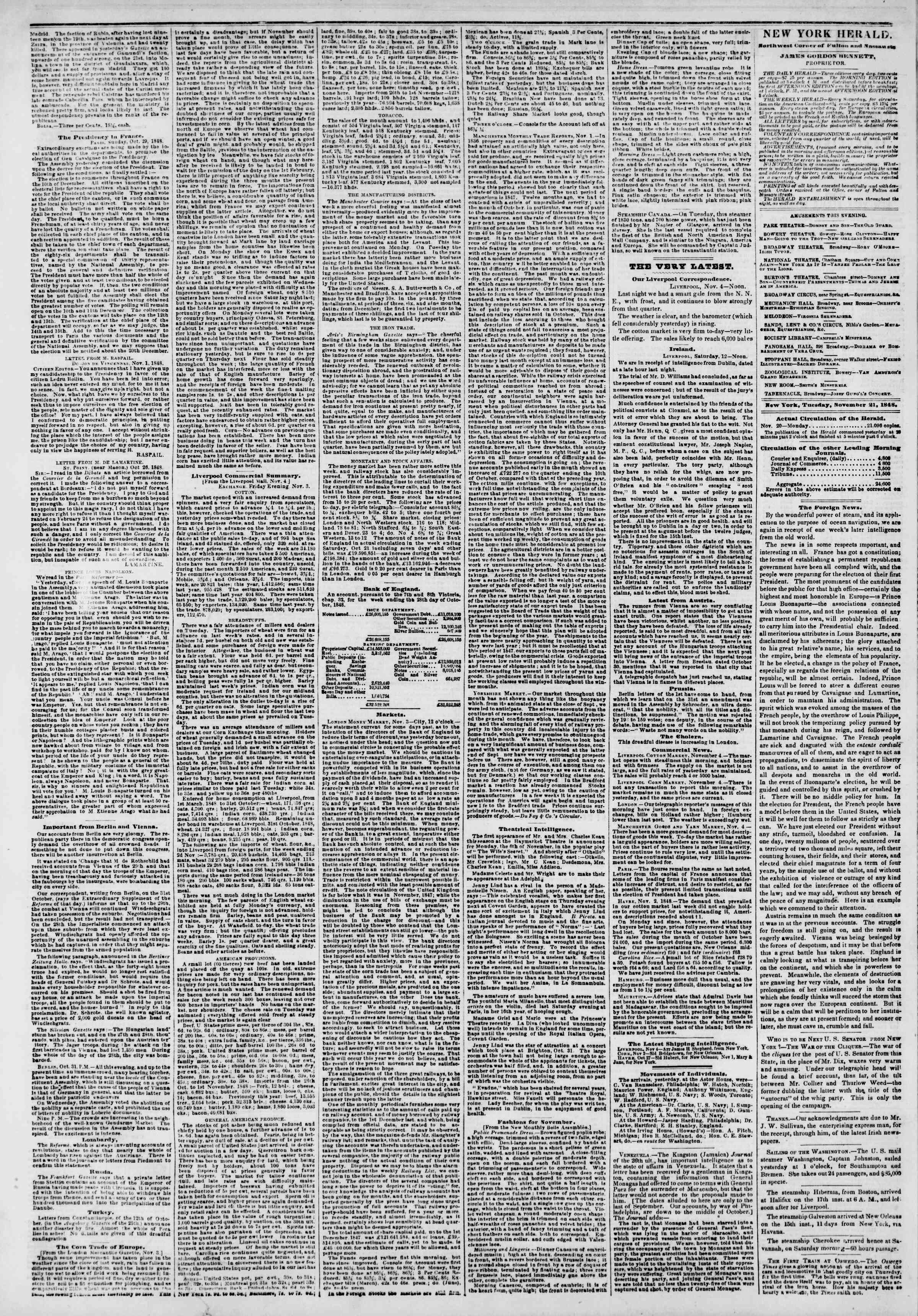 Newspaper of The New York Herald dated November 21, 1848 Page 2