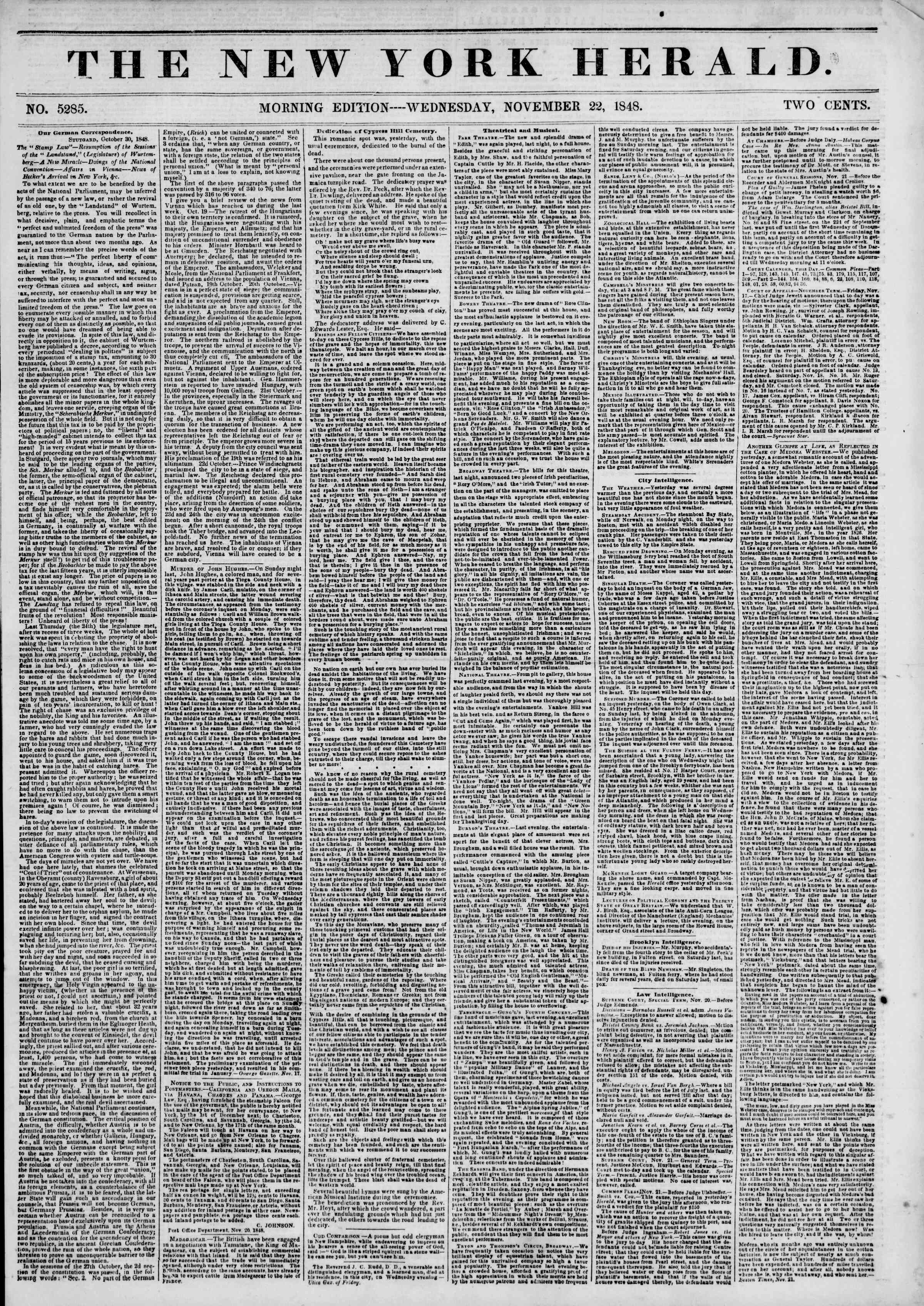 Newspaper of The New York Herald dated November 22, 1848 Page 1