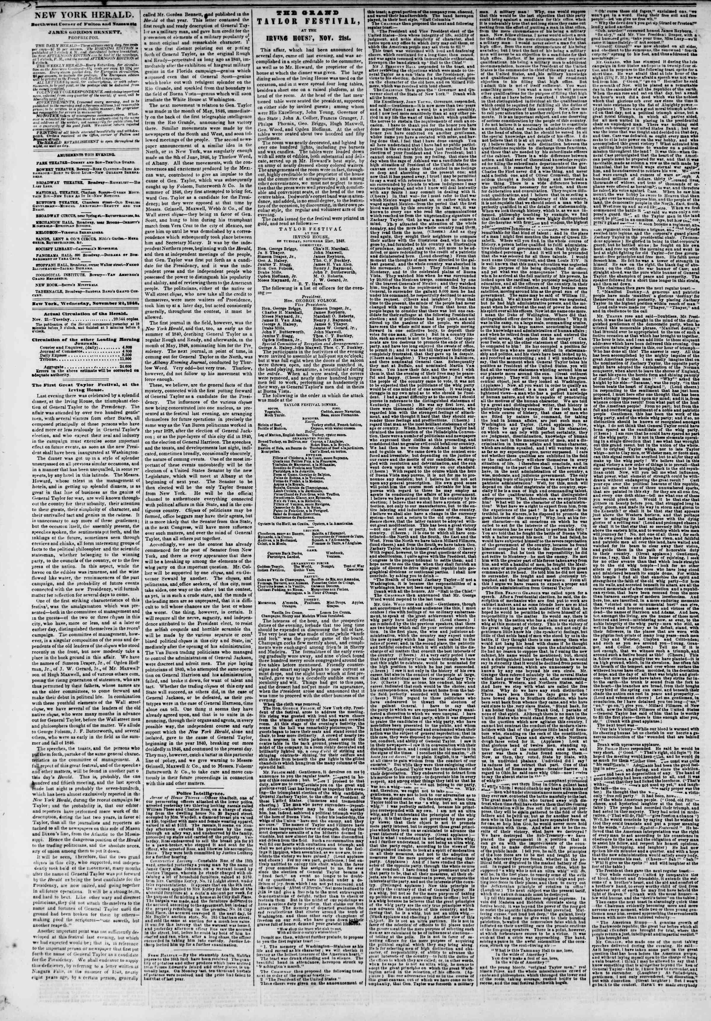 Newspaper of The New York Herald dated November 22, 1848 Page 2