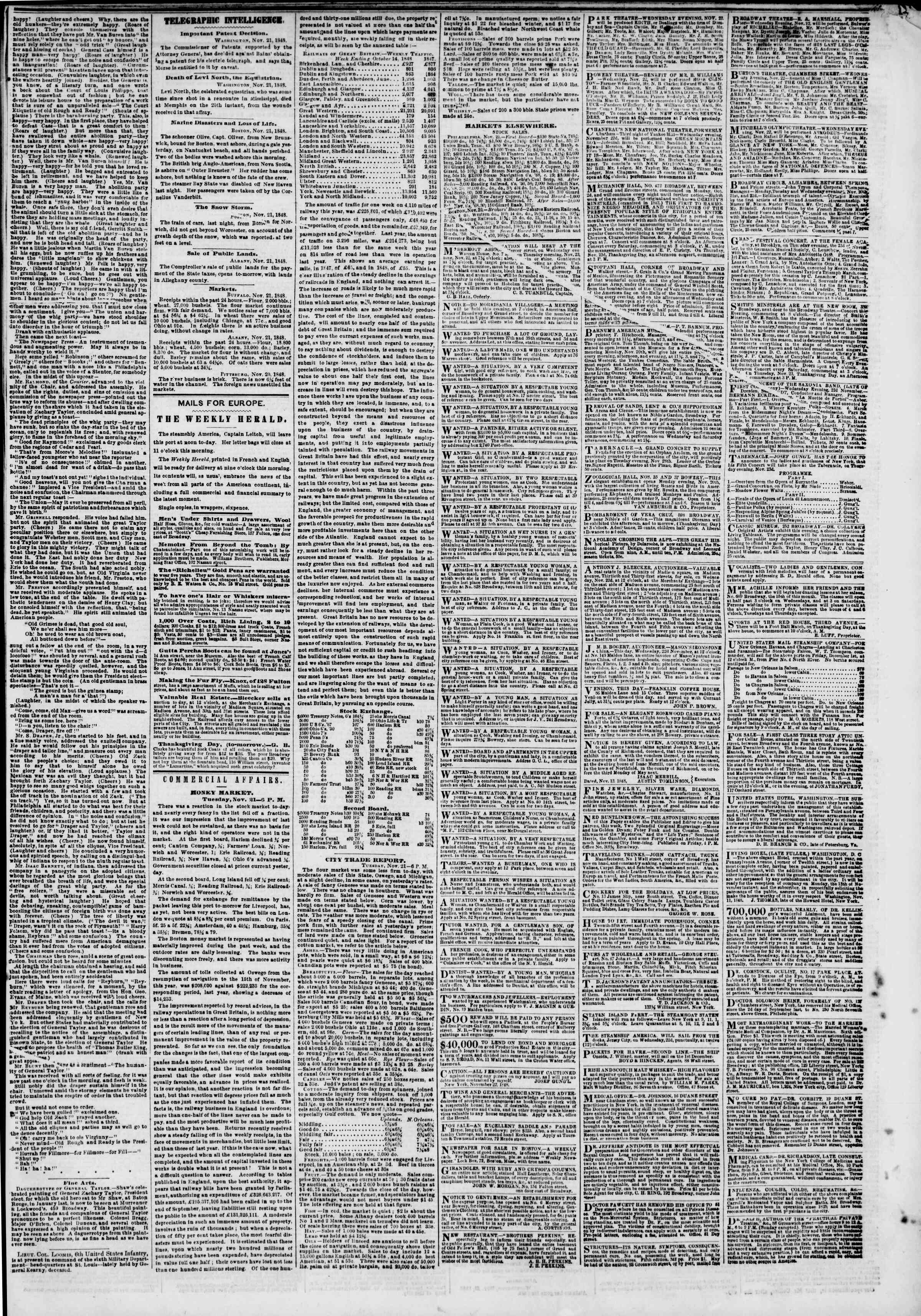 Newspaper of The New York Herald dated November 22, 1848 Page 3