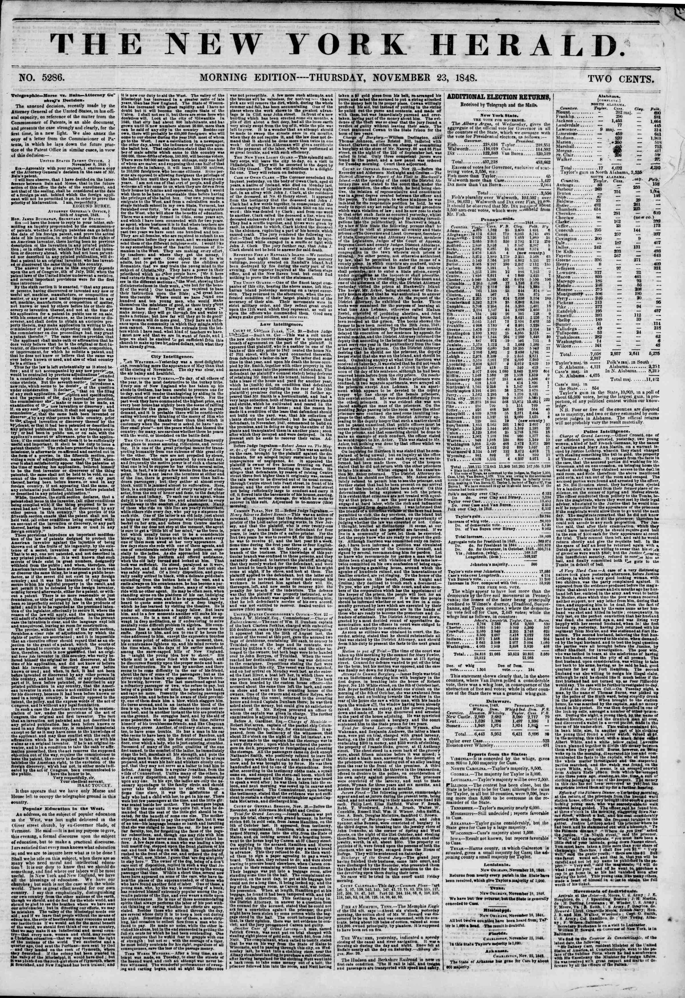 Newspaper of The New York Herald dated November 23, 1848 Page 1