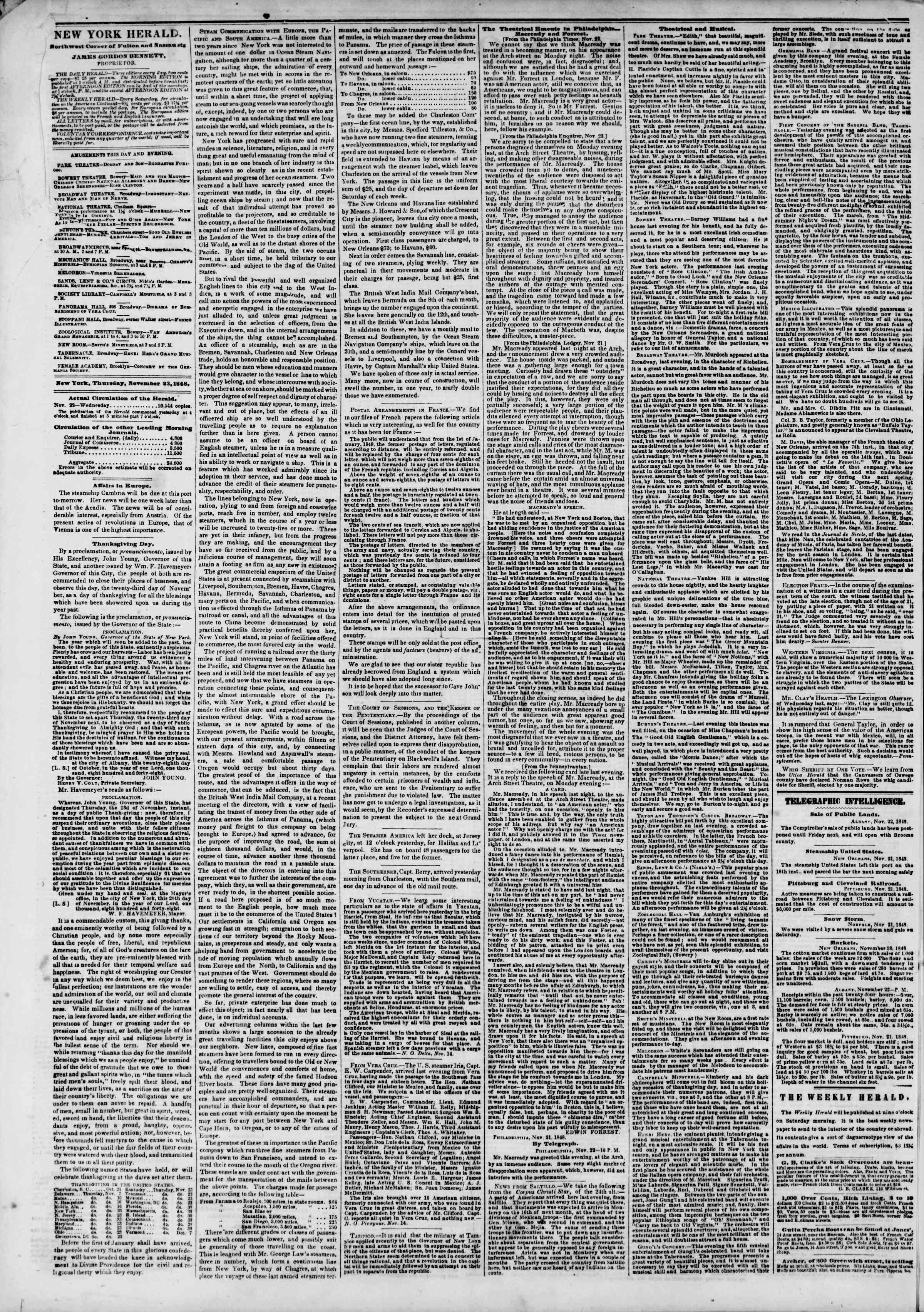 Newspaper of The New York Herald dated November 23, 1848 Page 2