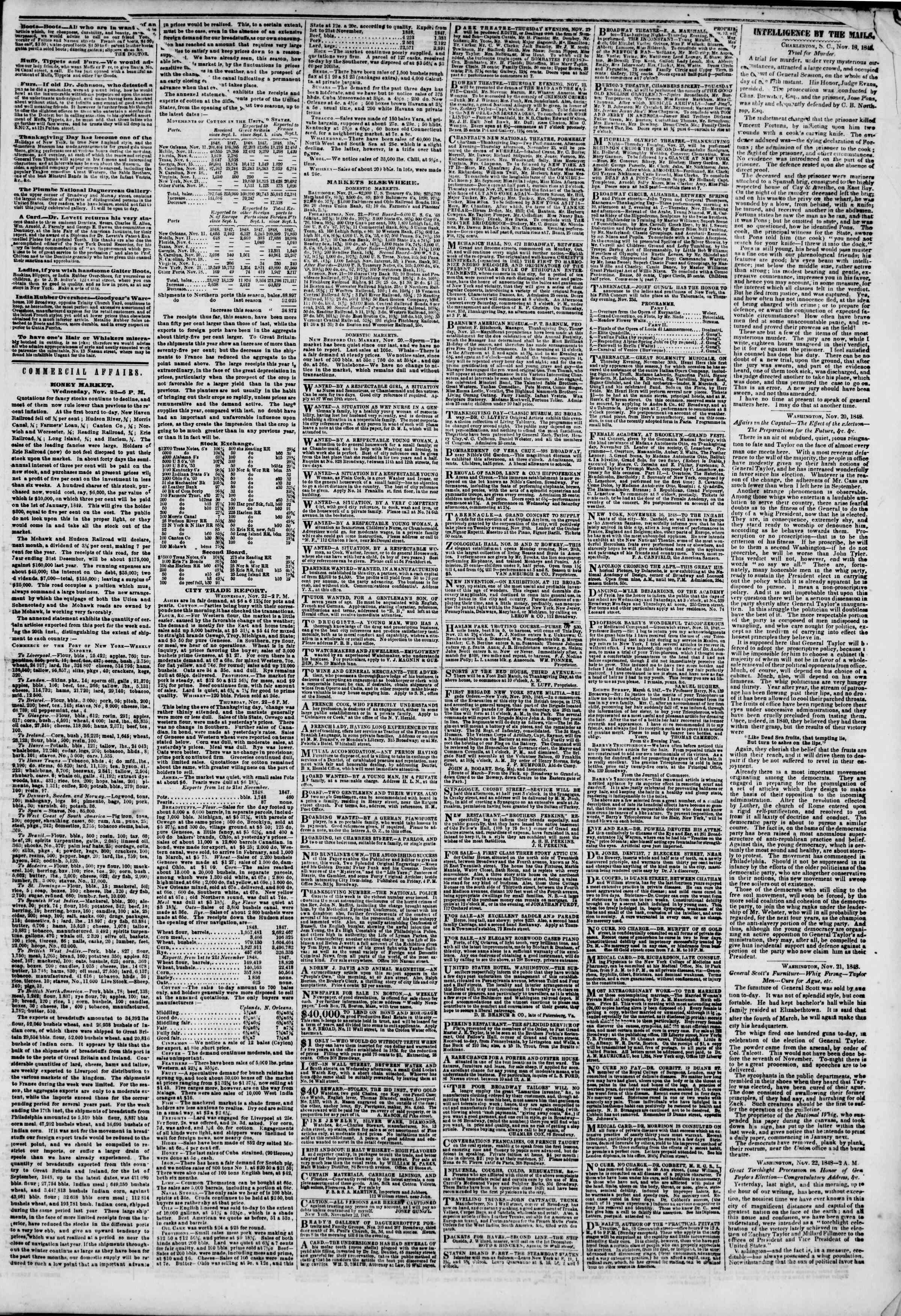 Newspaper of The New York Herald dated November 23, 1848 Page 3