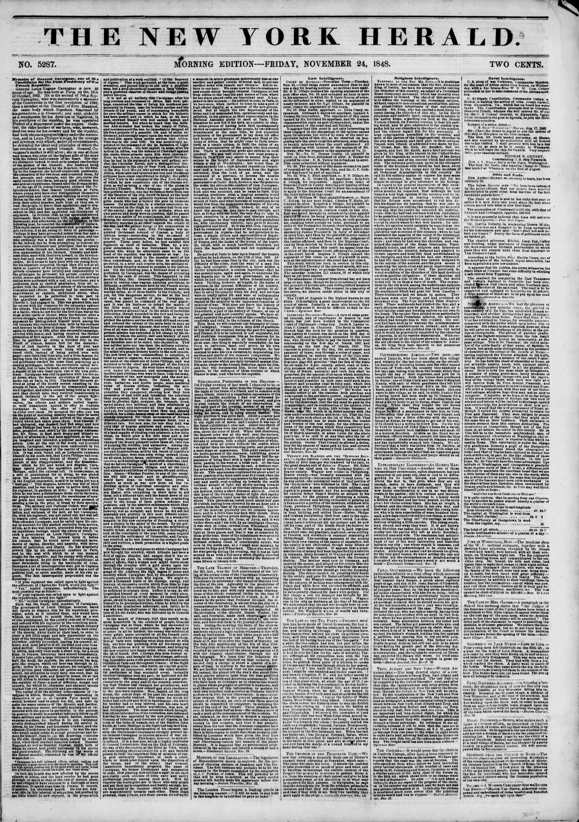 Newspaper of The New York Herald dated November 24, 1848 Page 1