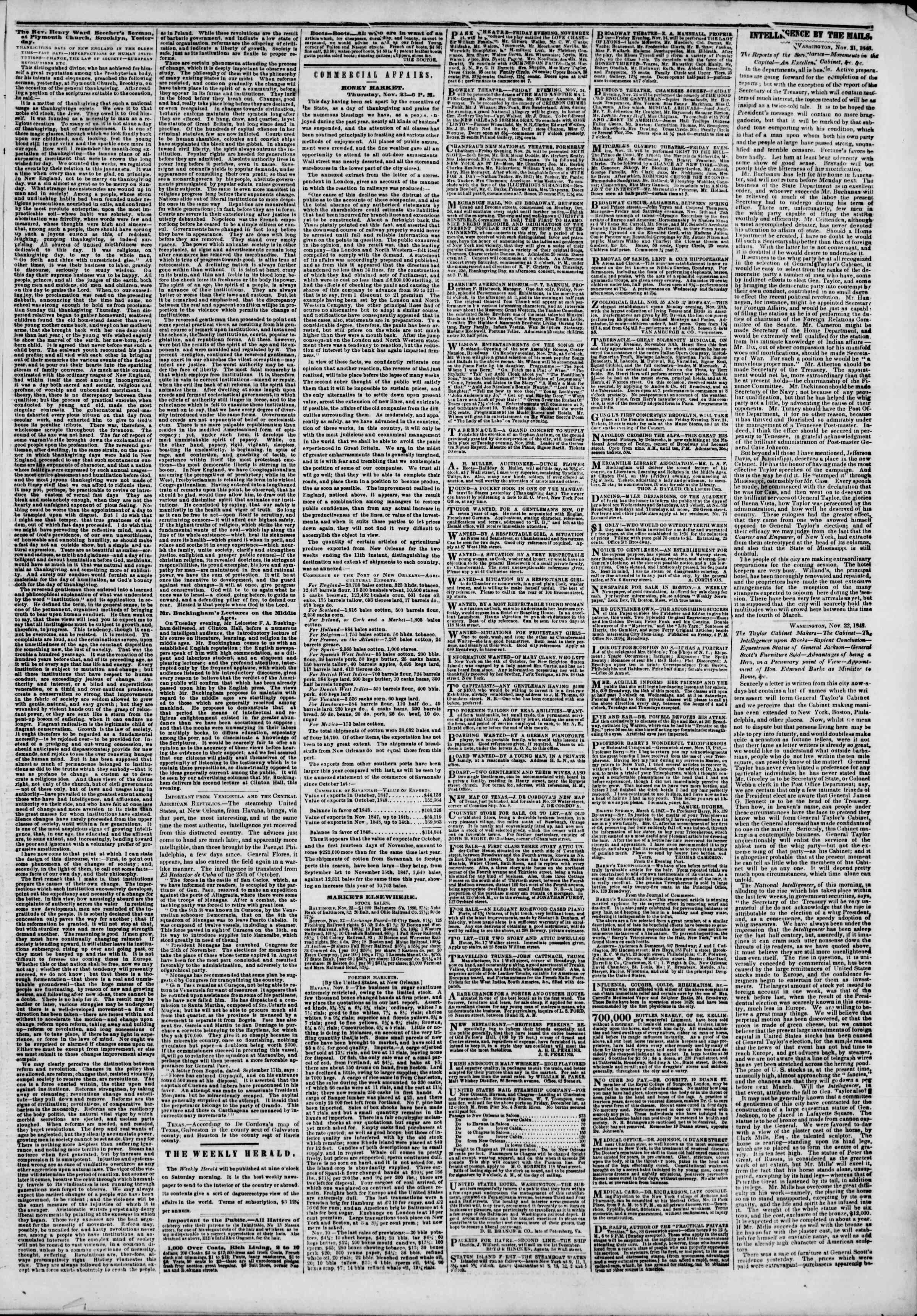 Newspaper of The New York Herald dated November 24, 1848 Page 3