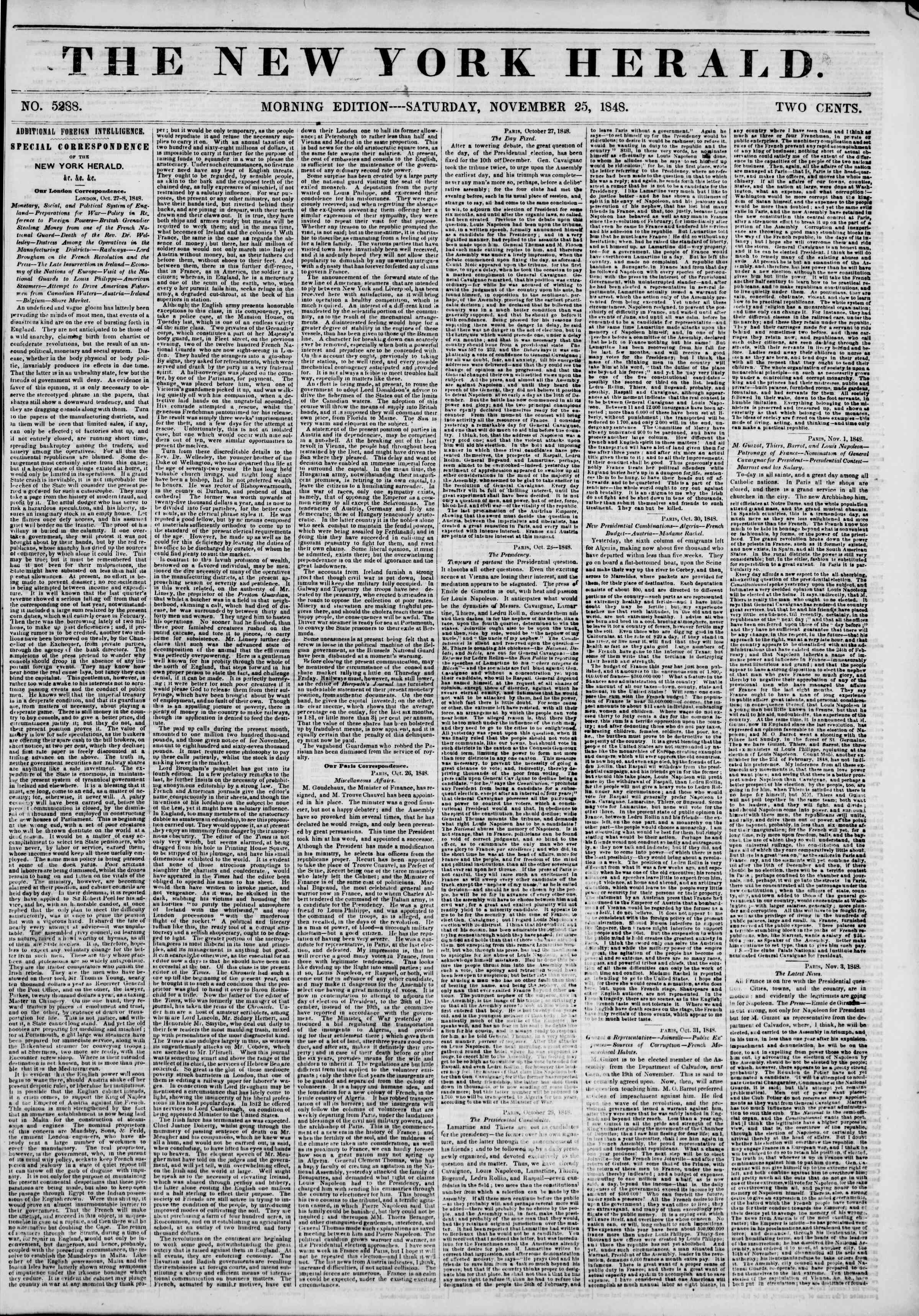 Newspaper of The New York Herald dated November 25, 1848 Page 1