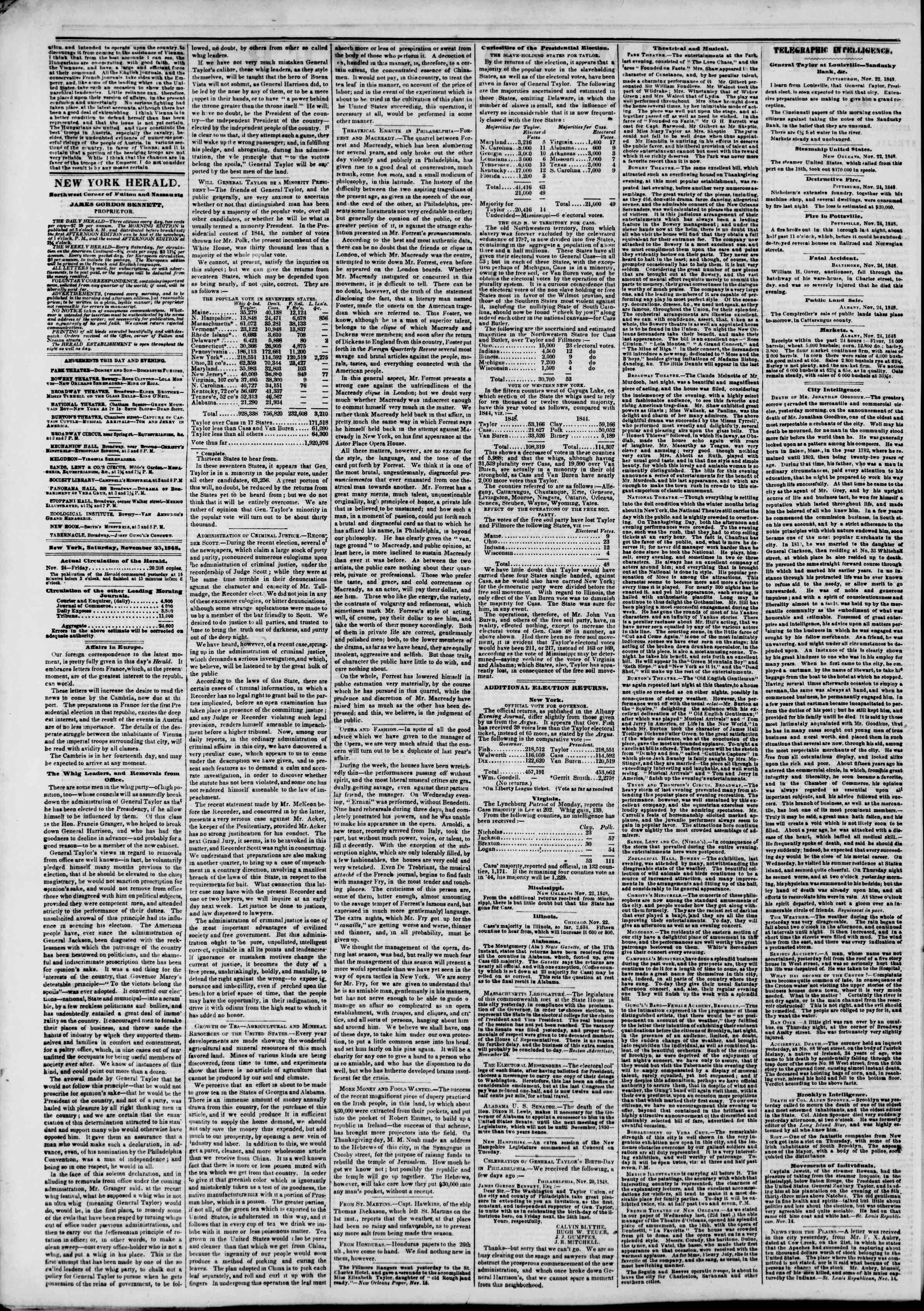Newspaper of The New York Herald dated November 25, 1848 Page 2