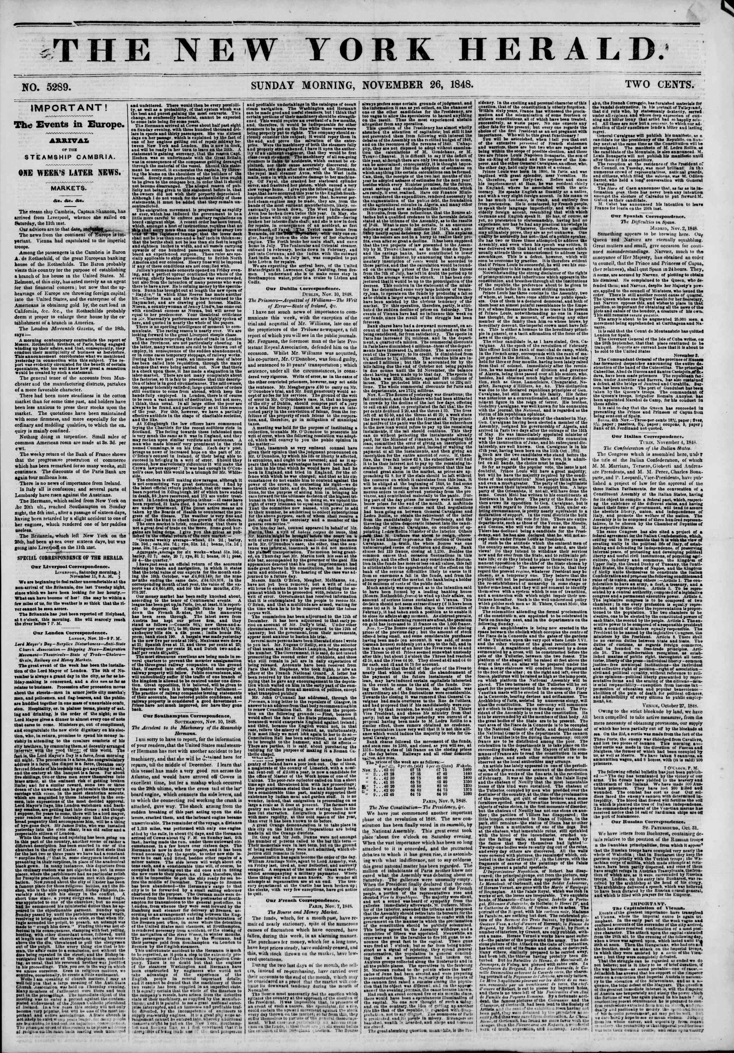 Newspaper of The New York Herald dated November 26, 1848 Page 1
