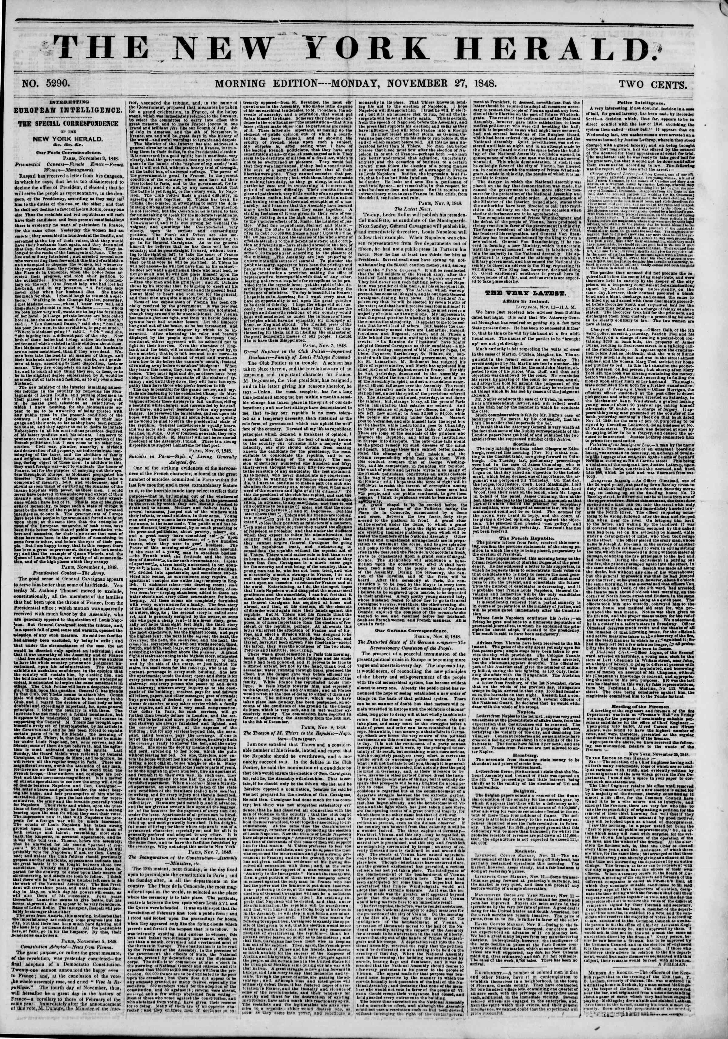 Newspaper of The New York Herald dated November 27, 1848 Page 1