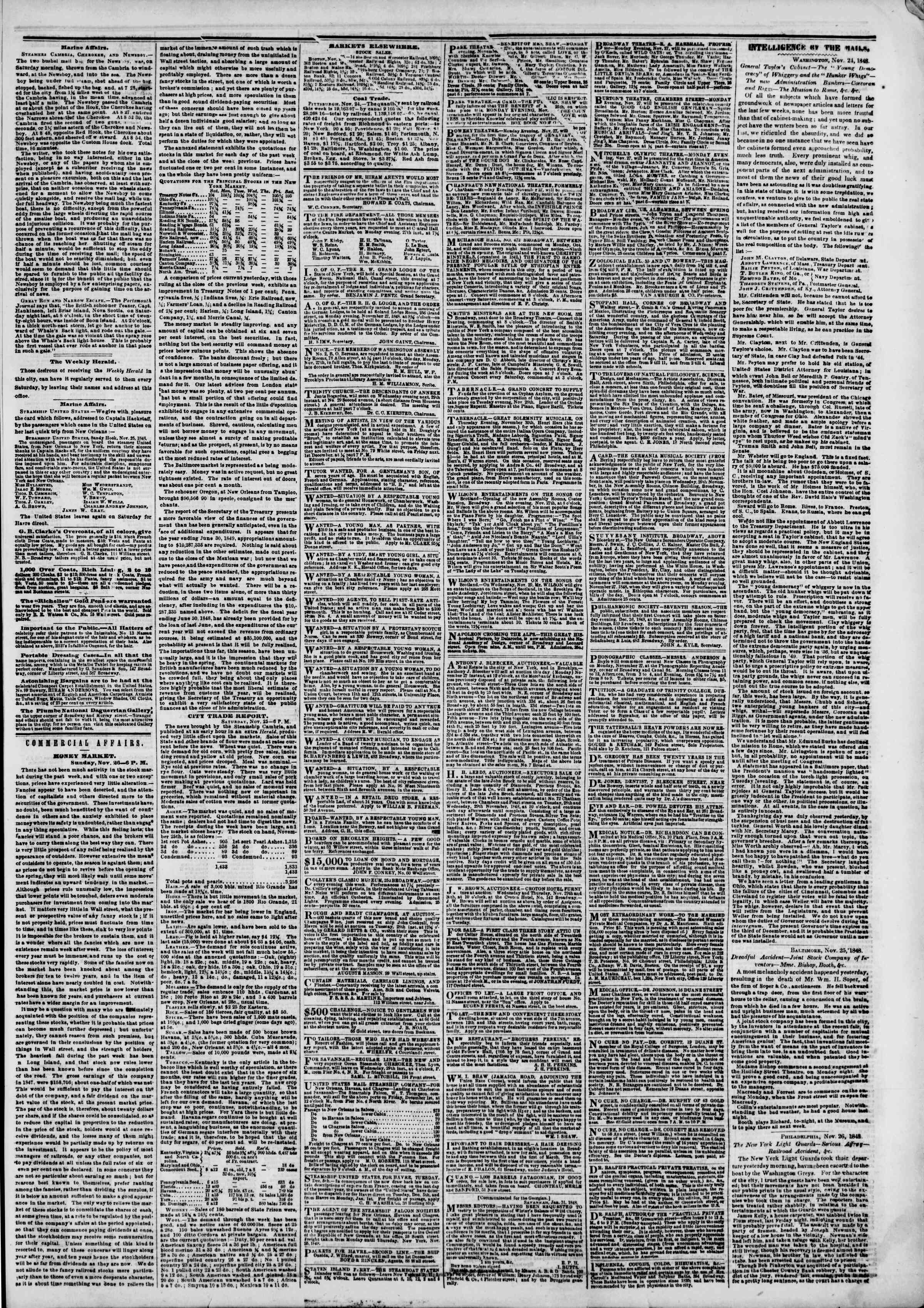 Newspaper of The New York Herald dated November 27, 1848 Page 3