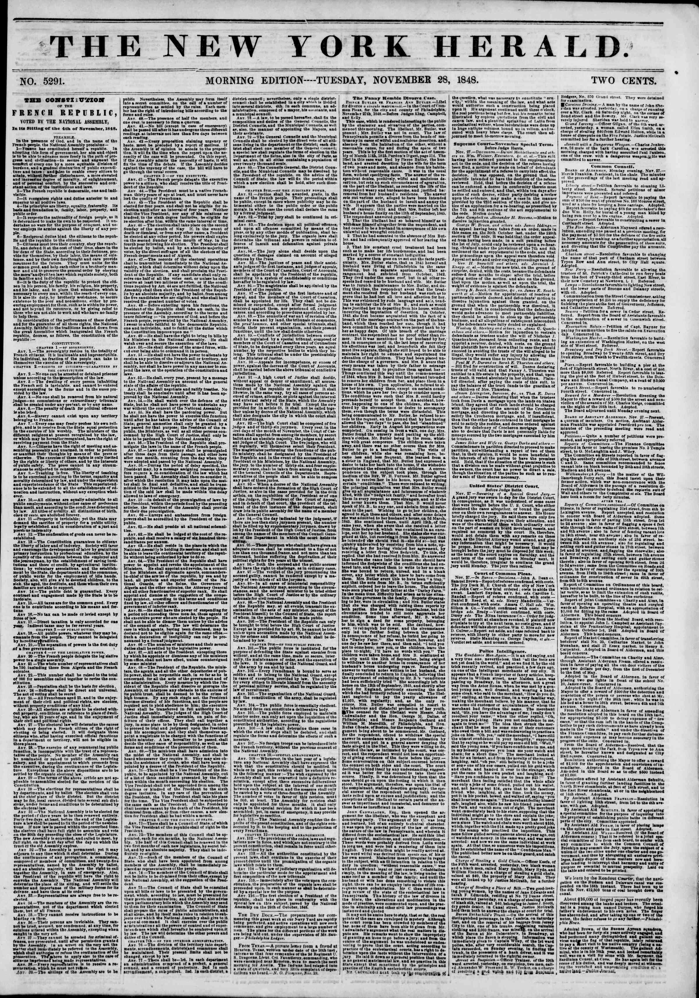 Newspaper of The New York Herald dated November 28, 1848 Page 1