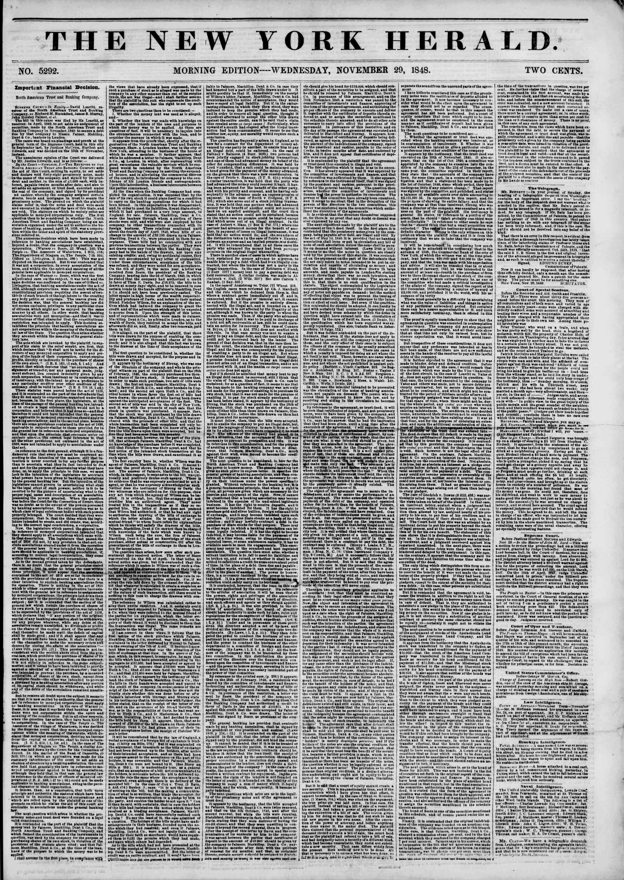 Newspaper of The New York Herald dated November 29, 1848 Page 1