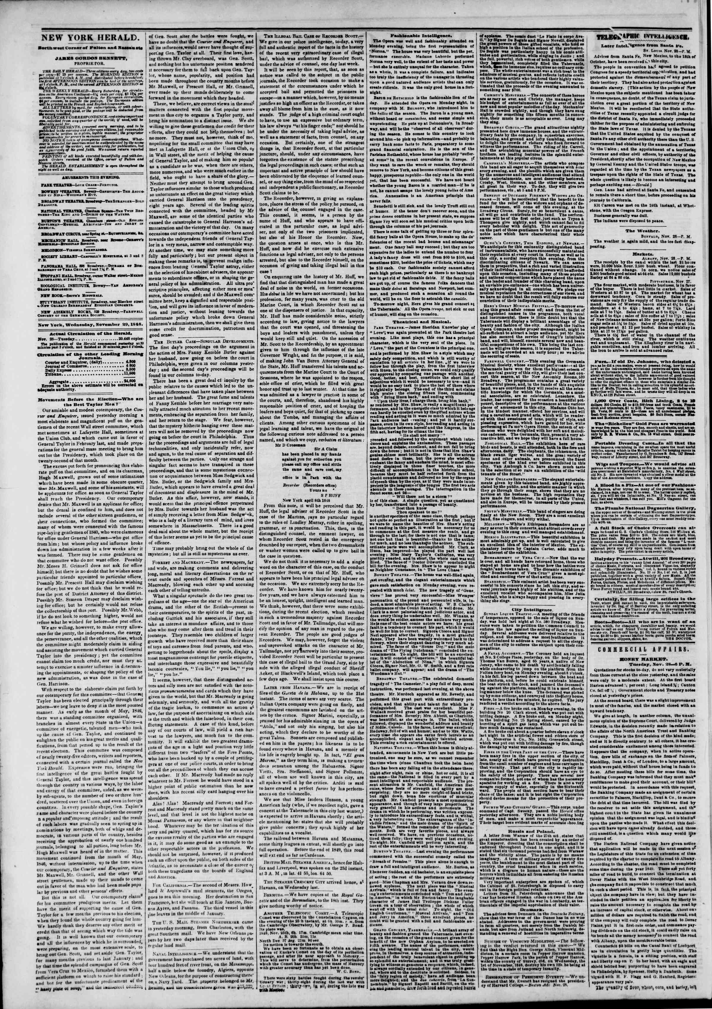 Newspaper of The New York Herald dated November 29, 1848 Page 2