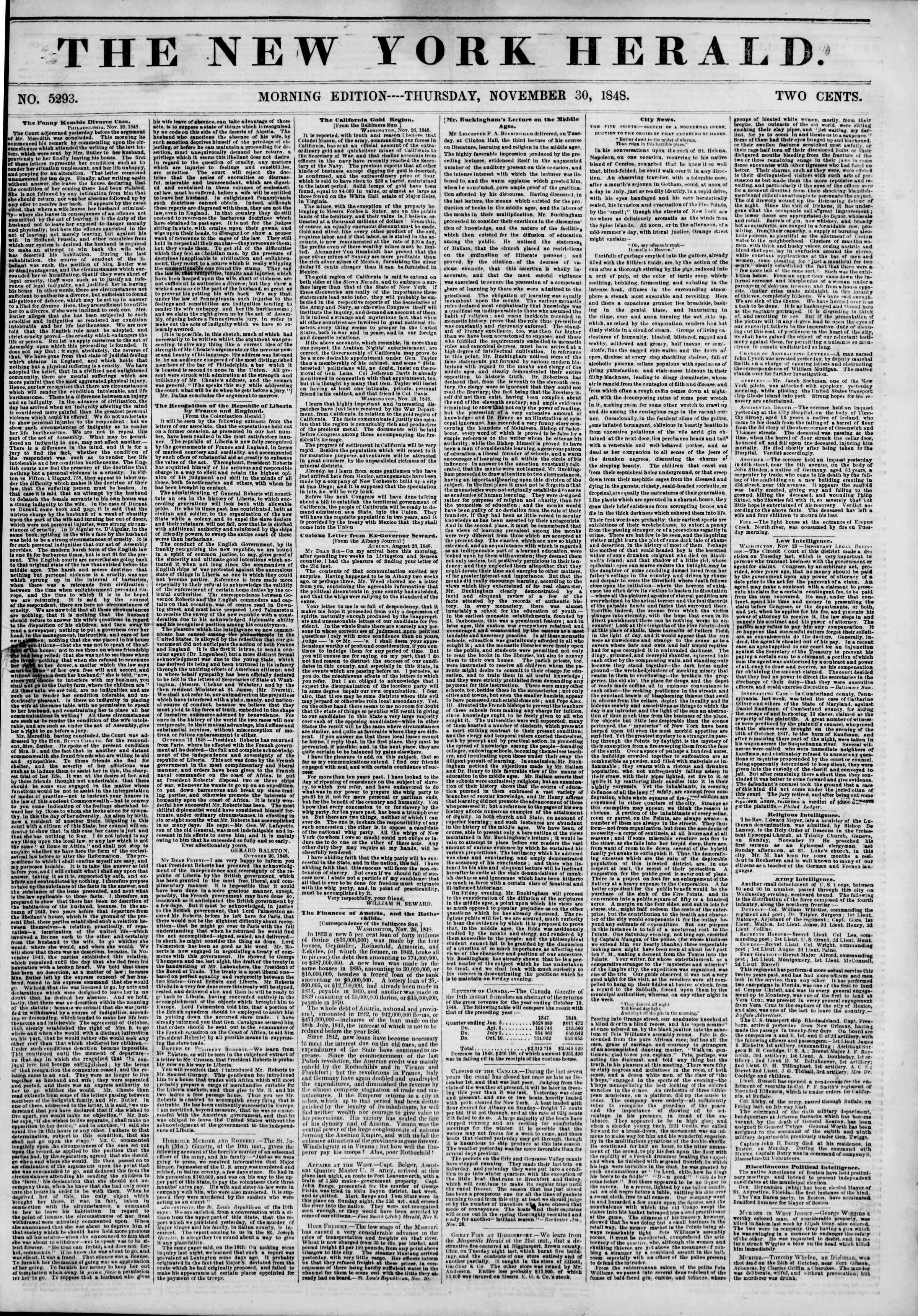 Newspaper of The New York Herald dated November 30, 1848 Page 1