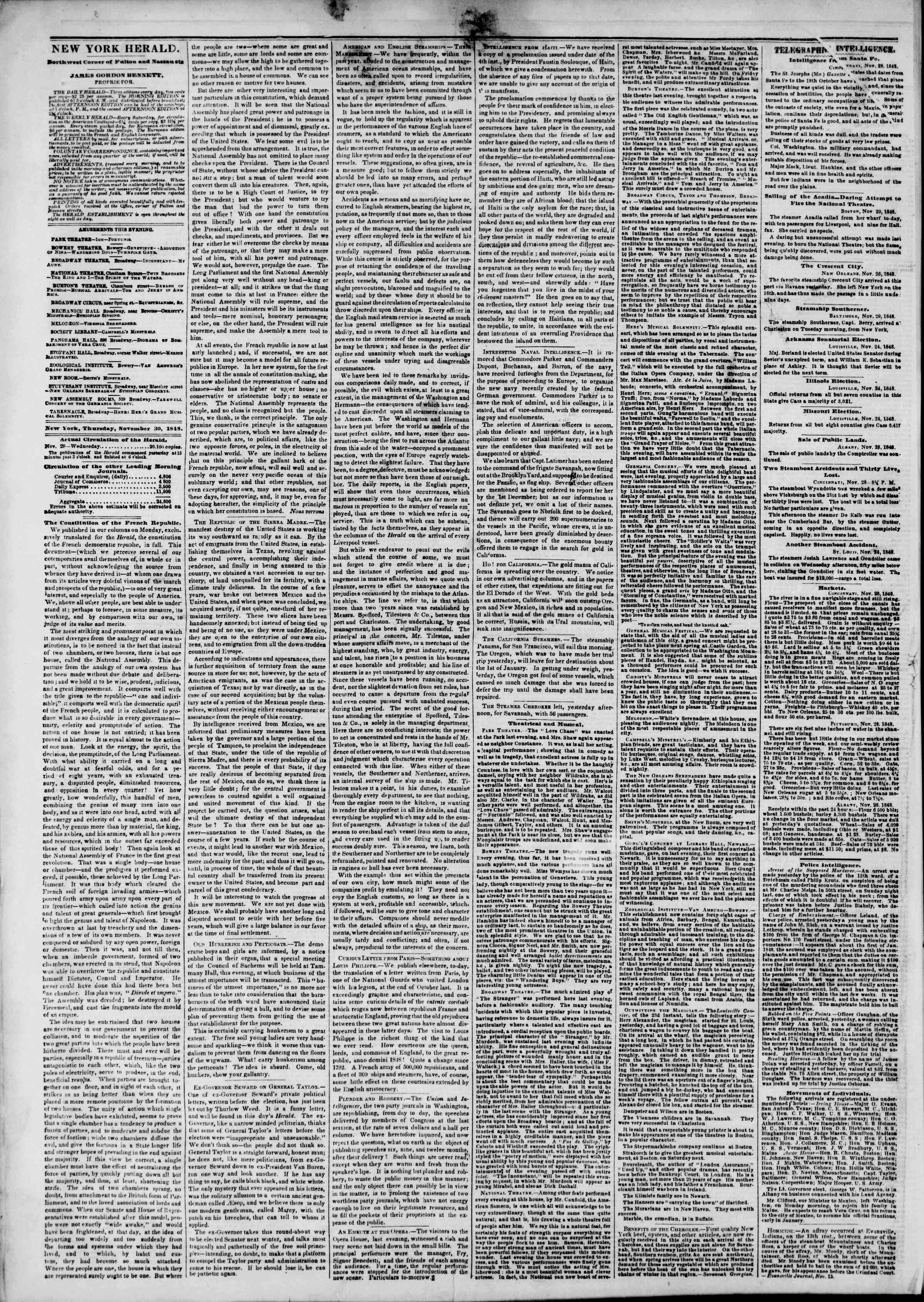 Newspaper of The New York Herald dated November 30, 1848 Page 2