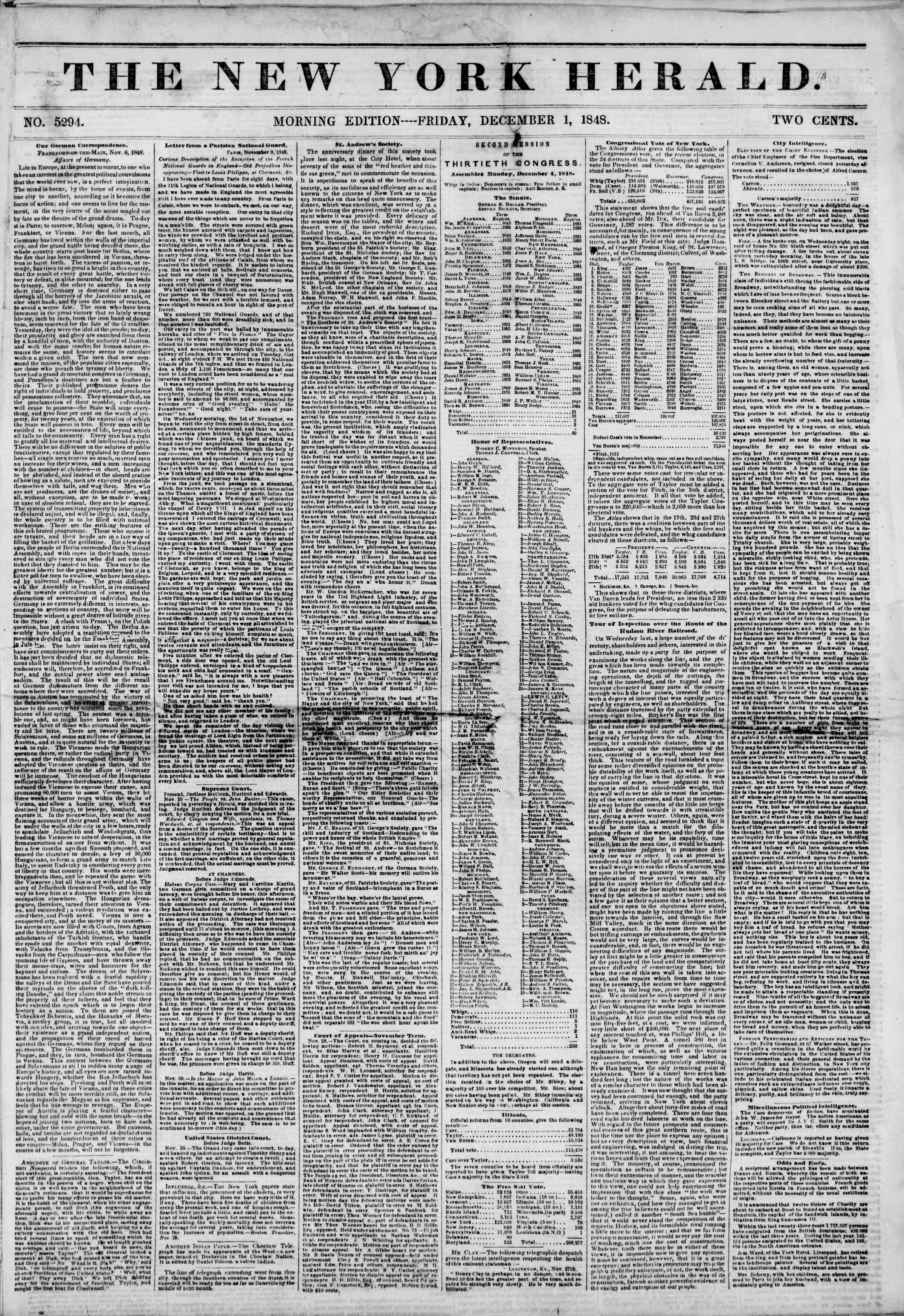 Newspaper of The New York Herald dated December 1, 1848 Page 1