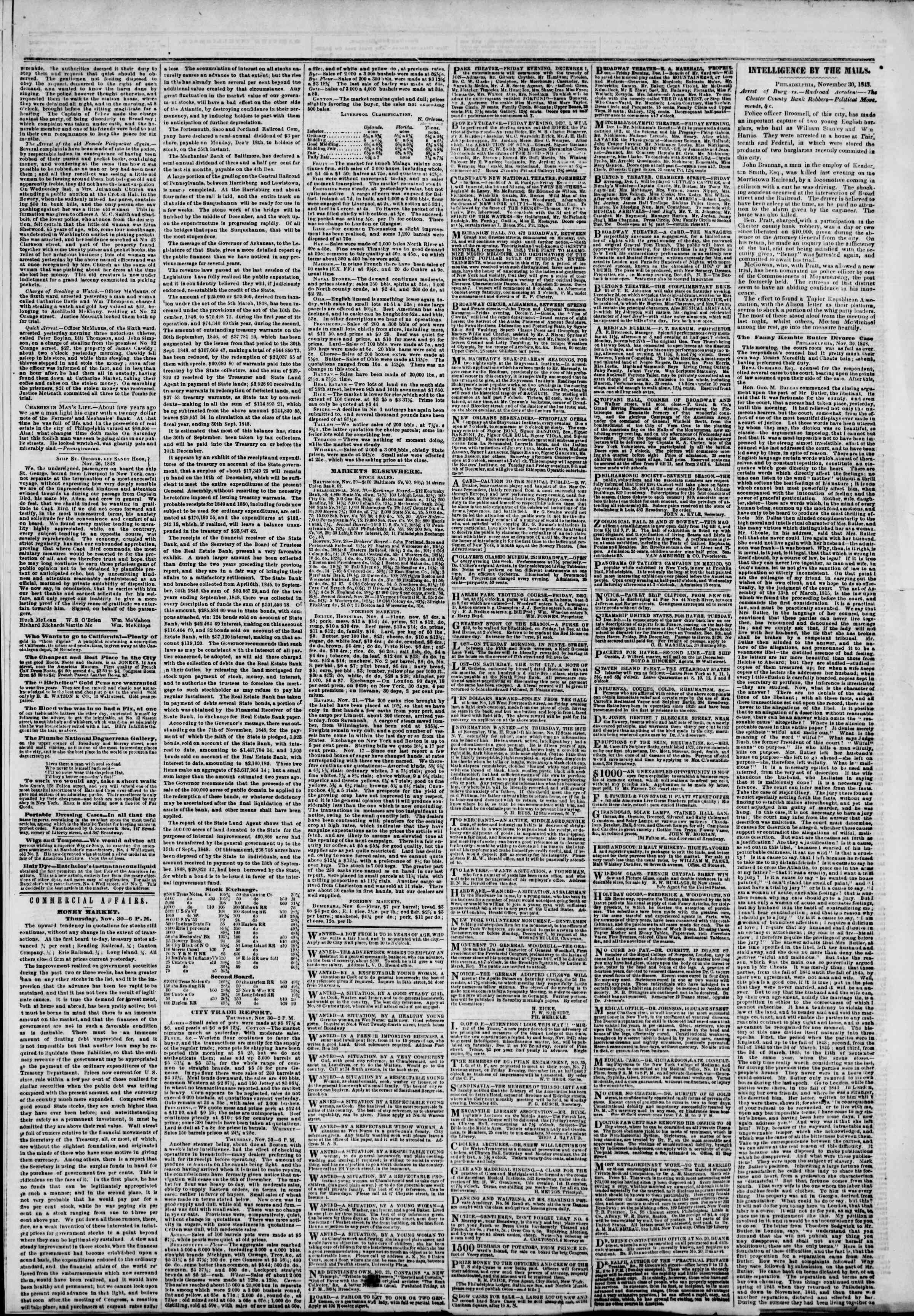 Newspaper of The New York Herald dated December 1, 1848 Page 3