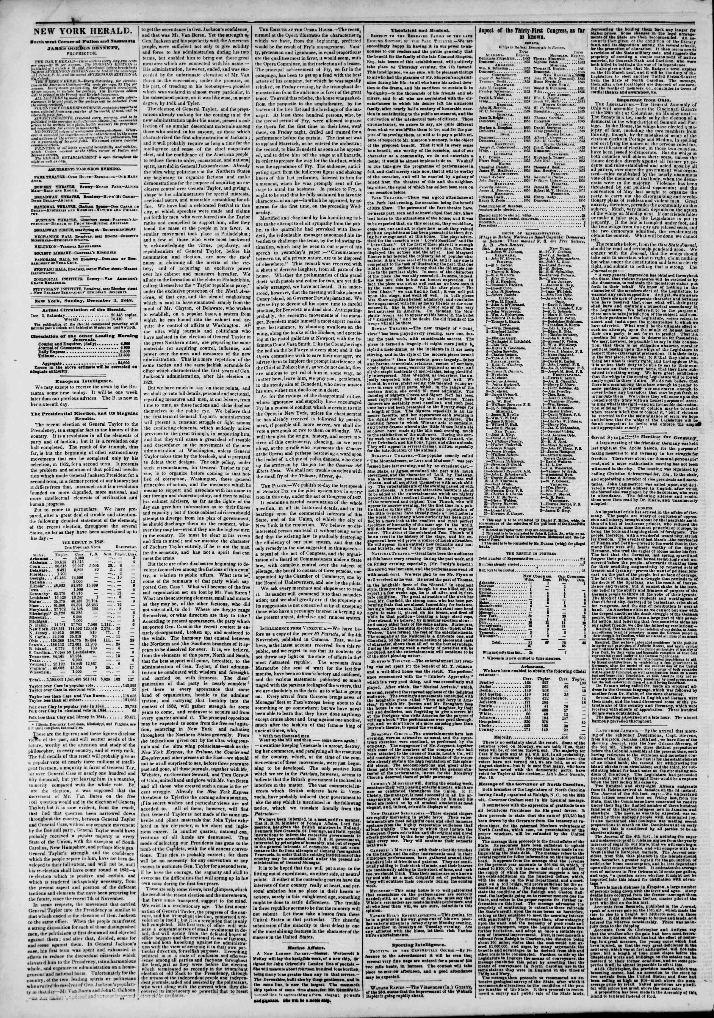 Newspaper of The New York Herald dated December 3, 1848 Page 2