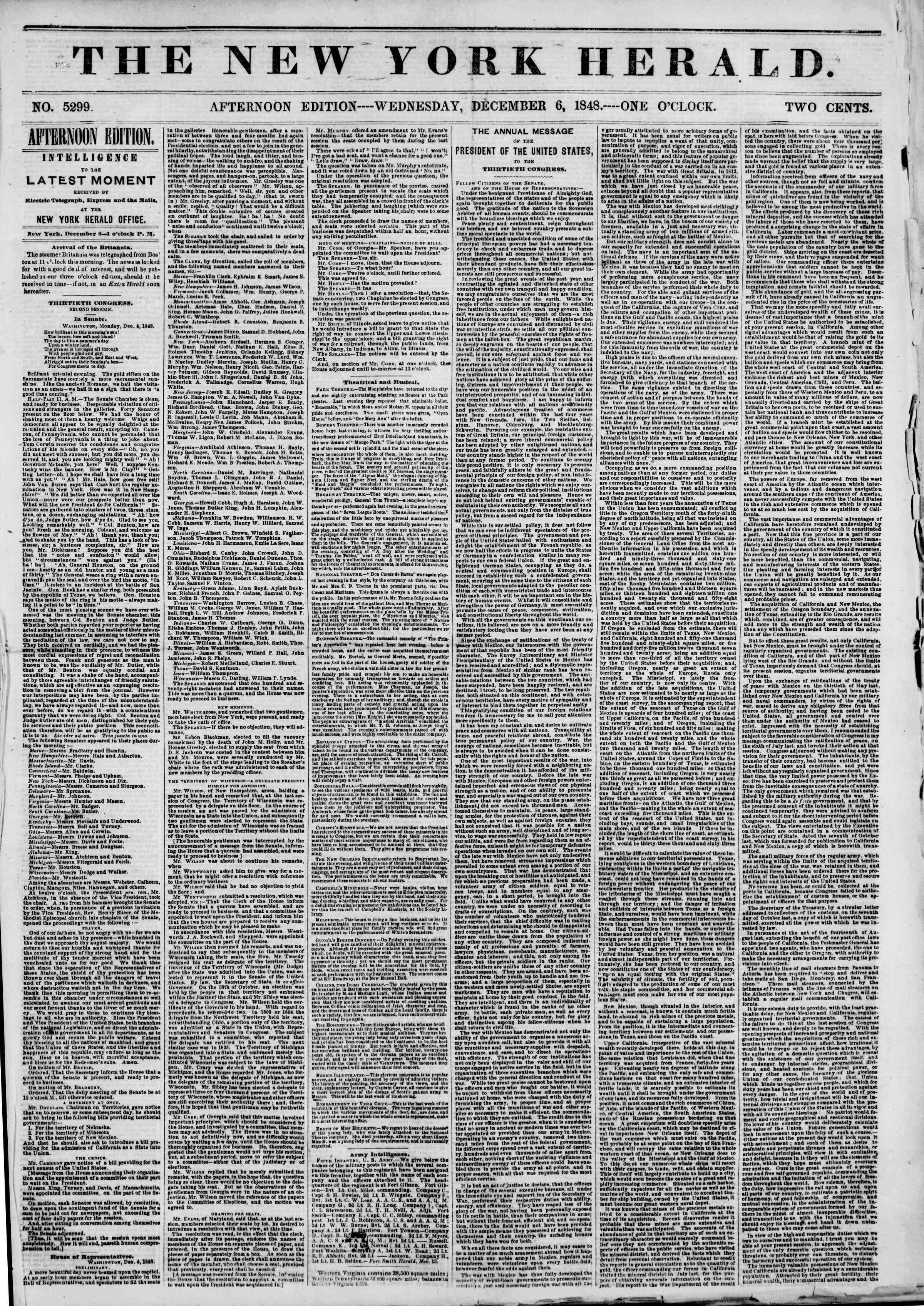 Newspaper of The New York Herald dated December 6, 1848 Page 1