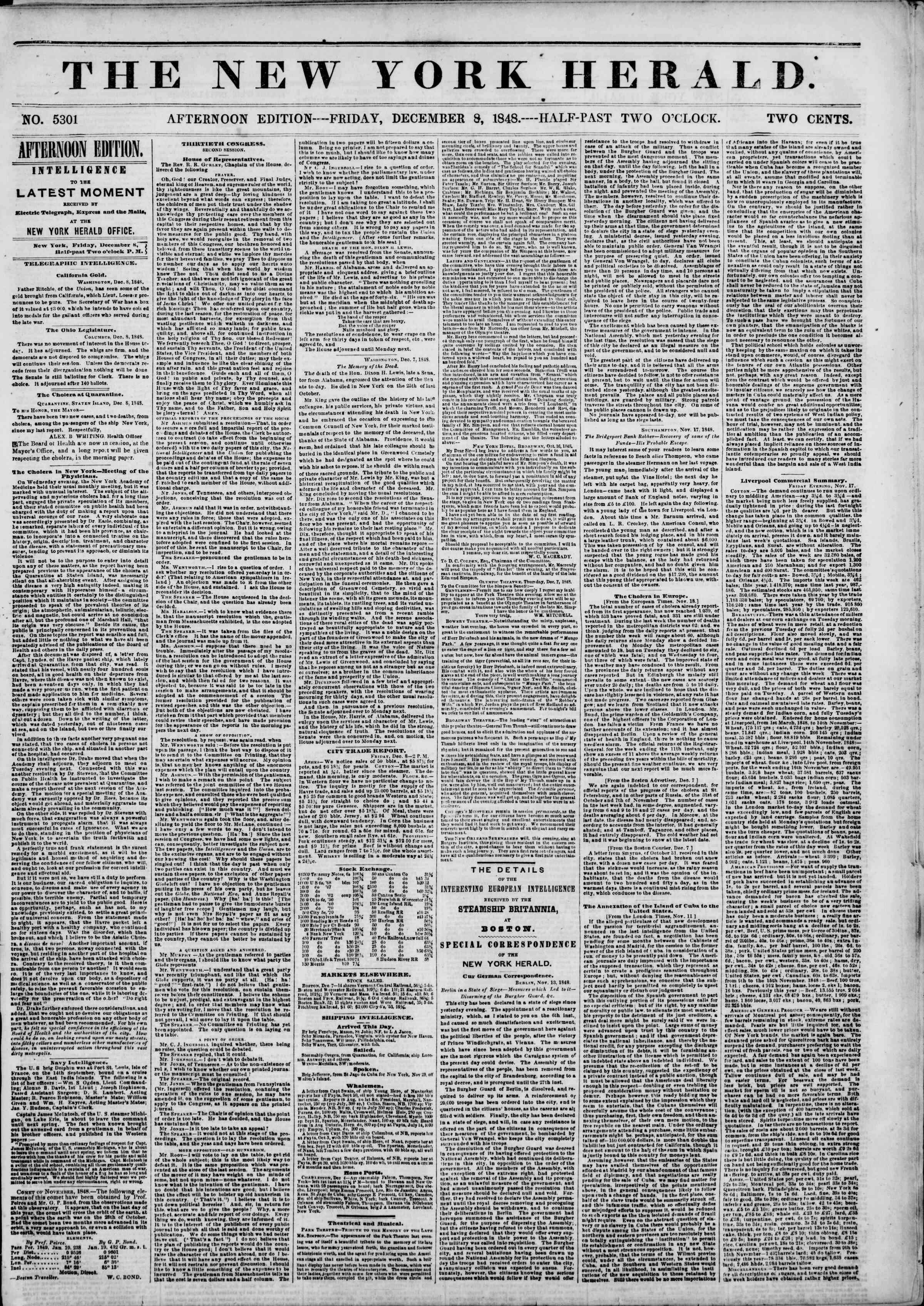 Newspaper of The New York Herald dated December 8, 1848 Page 1