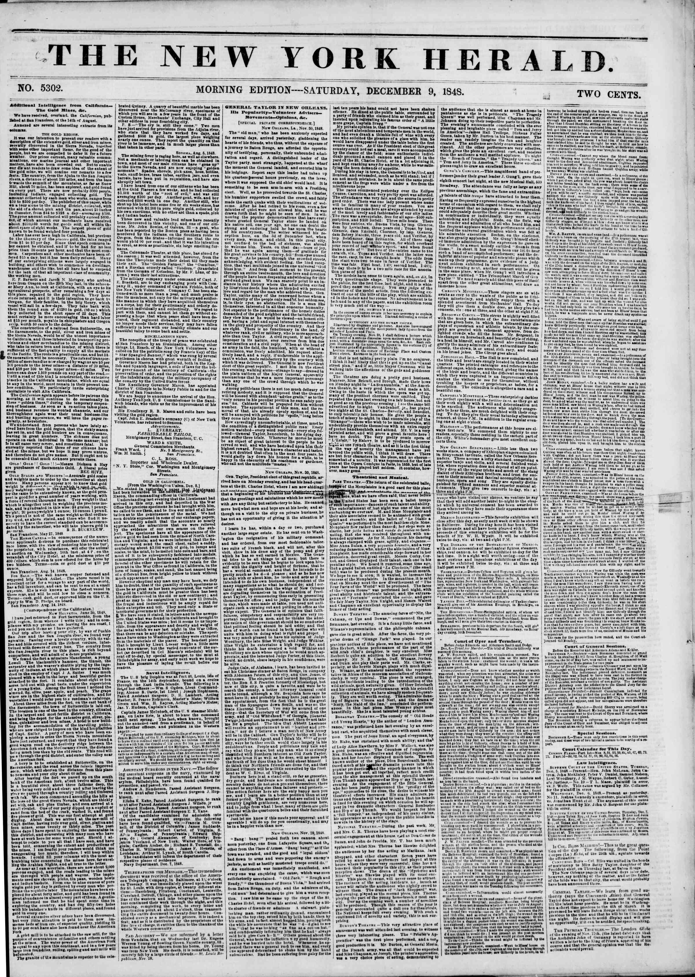 9 Aralık 1848 tarihli The New York Herald Gazetesi Sayfa 1