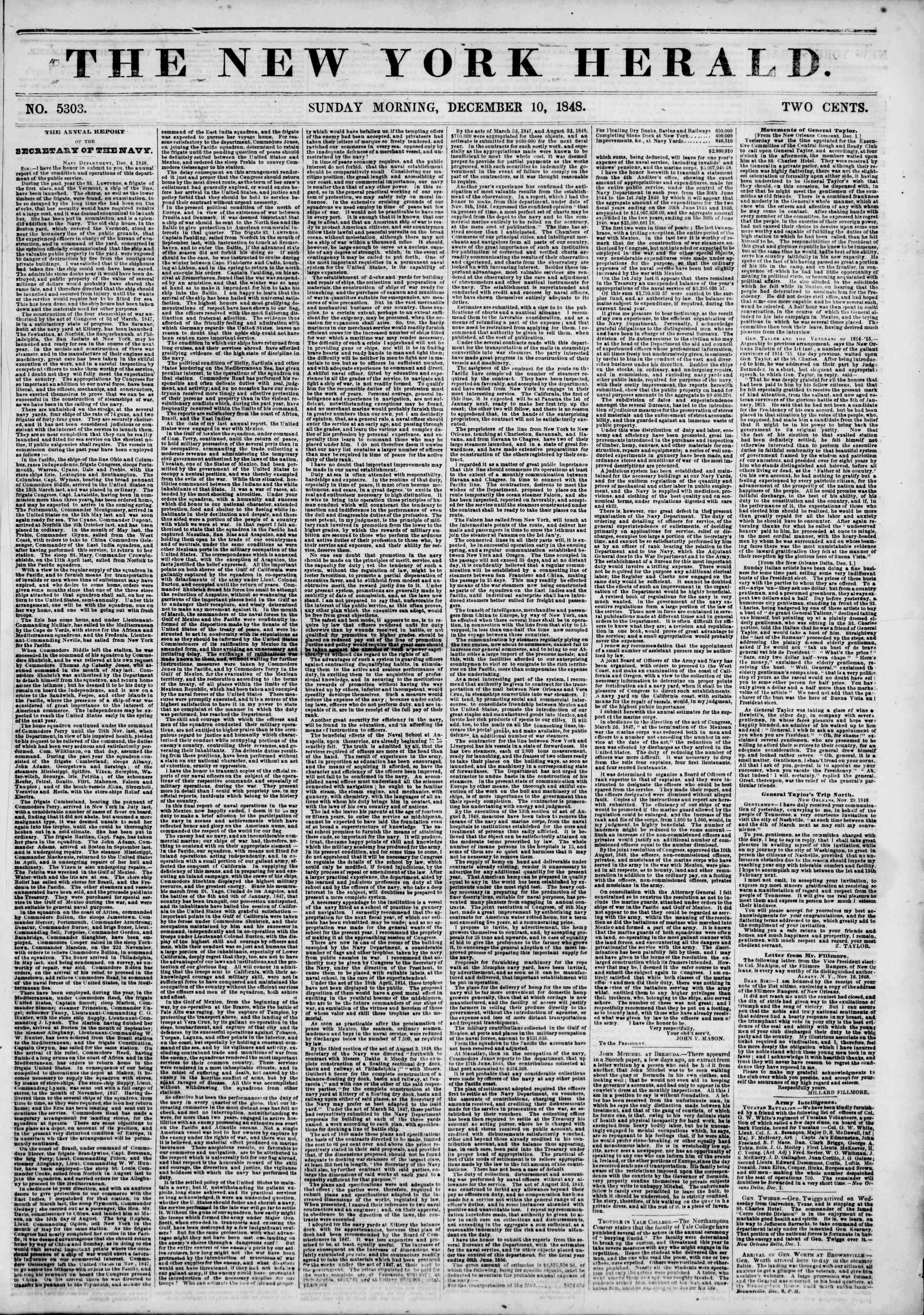 Newspaper of The New York Herald dated December 10, 1848 Page 1