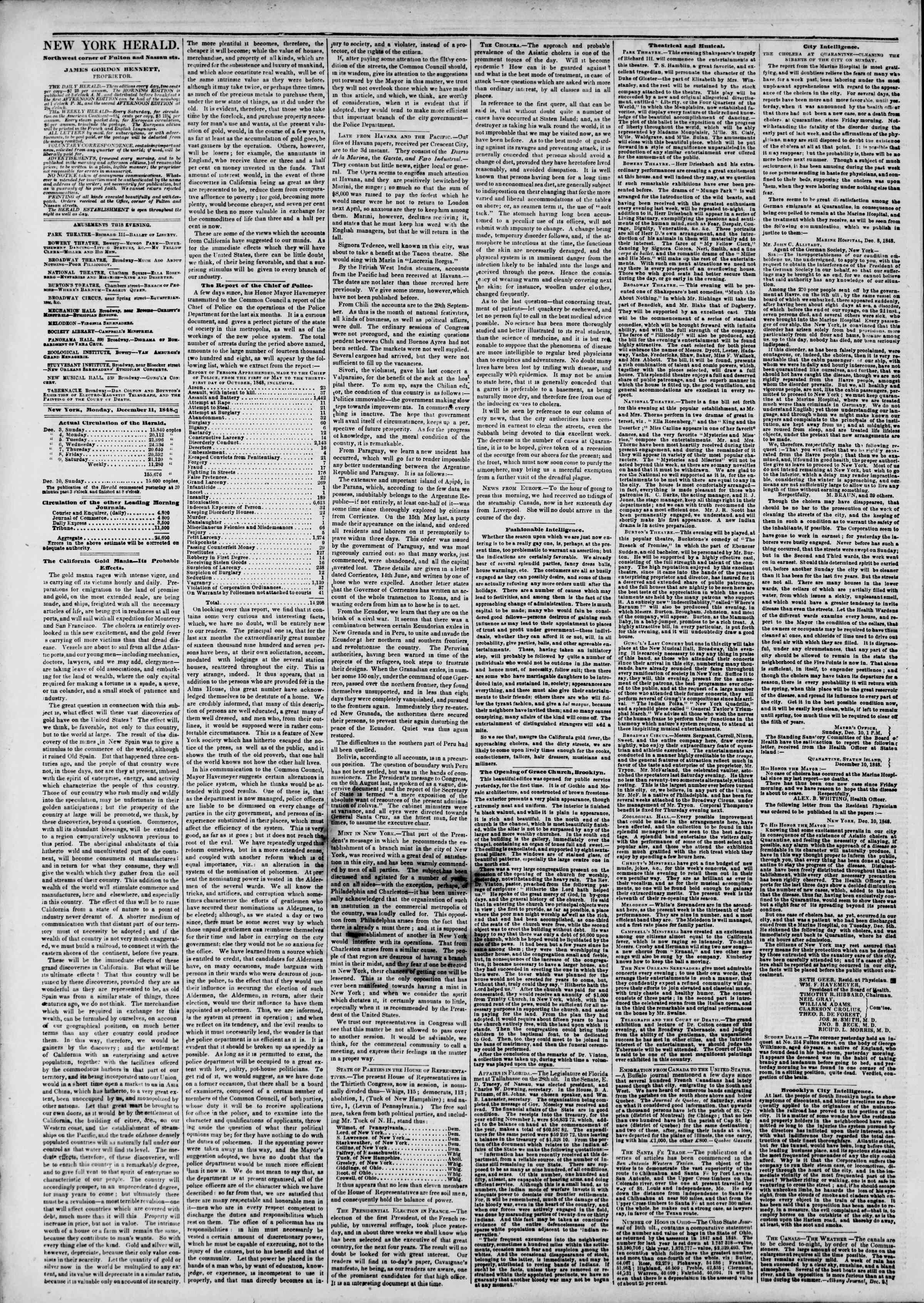 Newspaper of The New York Herald dated December 11, 1848 Page 2