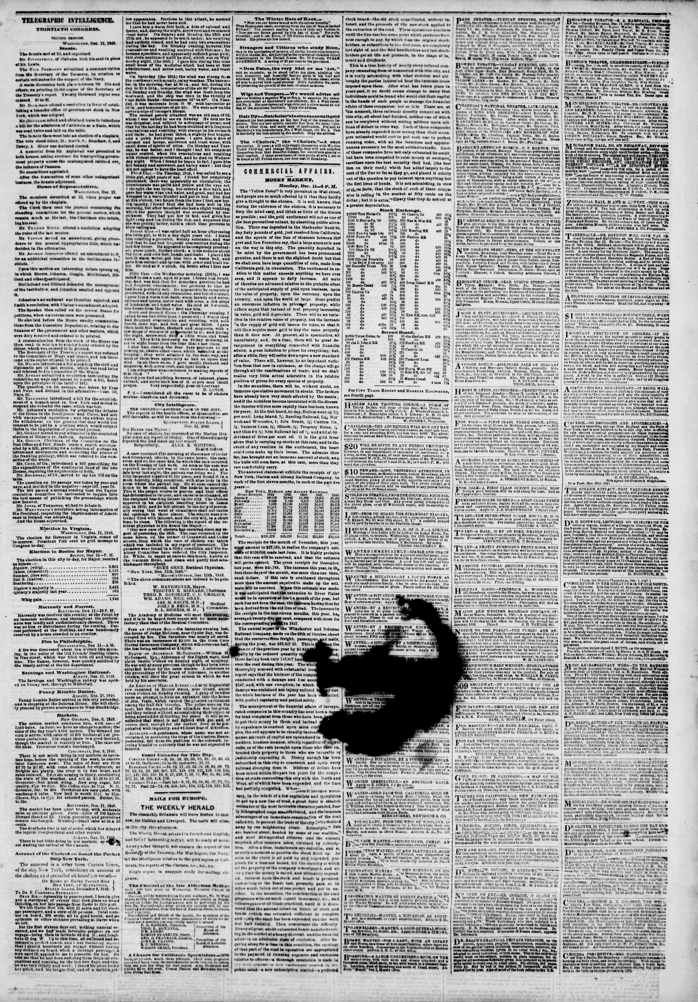 Newspaper of The New York Herald dated December 12, 1848 Page 3
