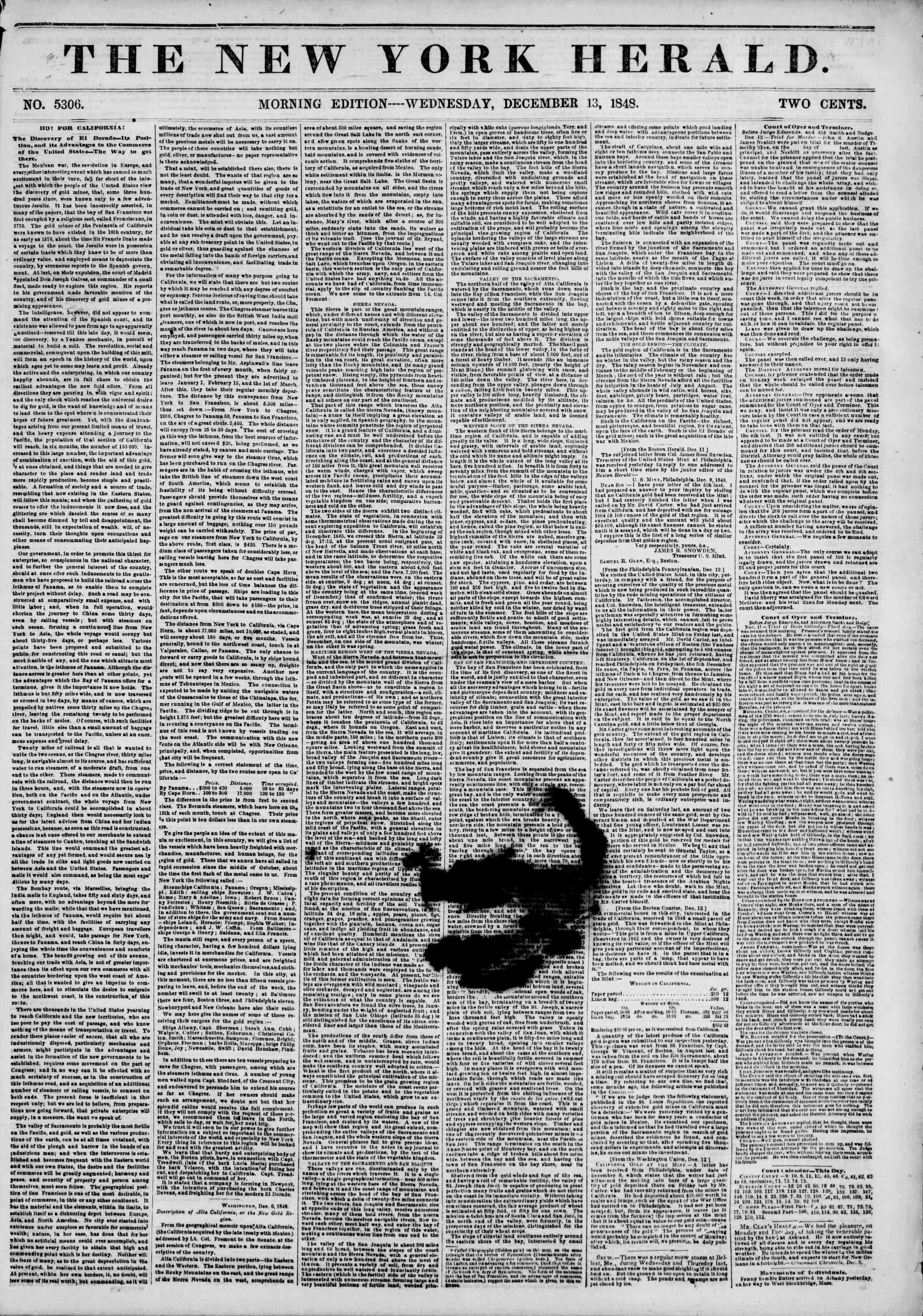 Newspaper of The New York Herald dated 13 Aralık 1848 Page 1