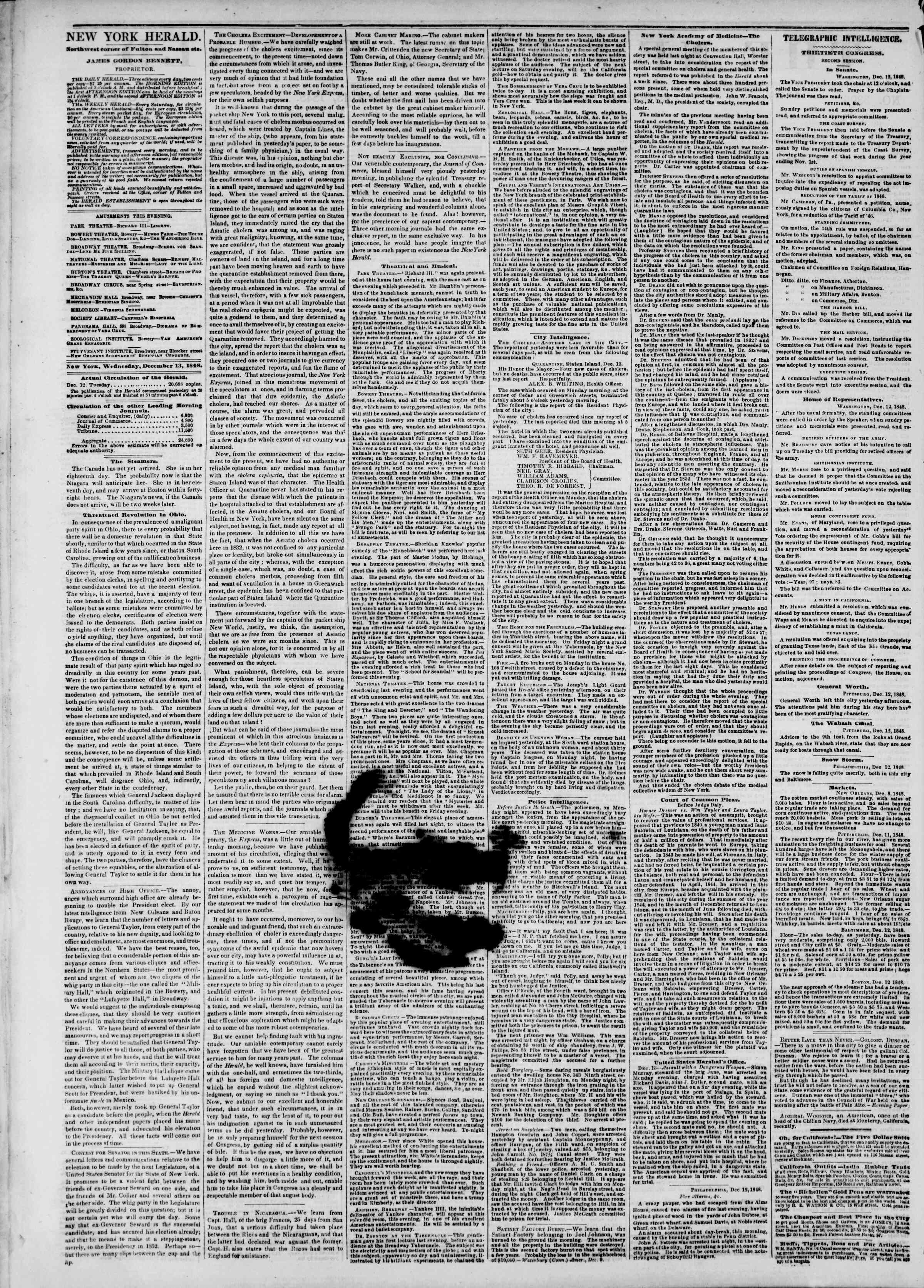 Newspaper of The New York Herald dated December 13, 1848 Page 2