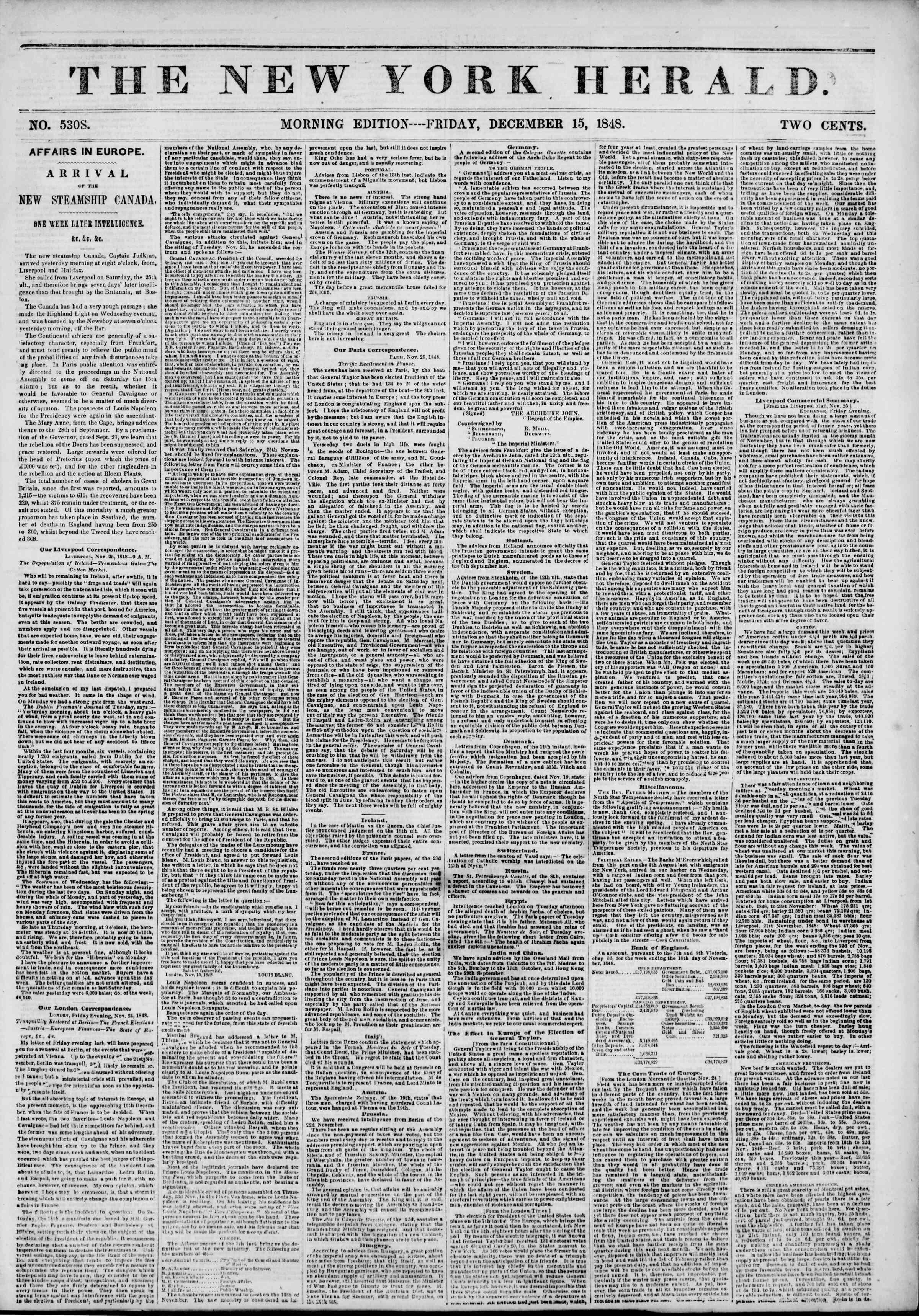 Newspaper of The New York Herald dated December 15, 1848 Page 1